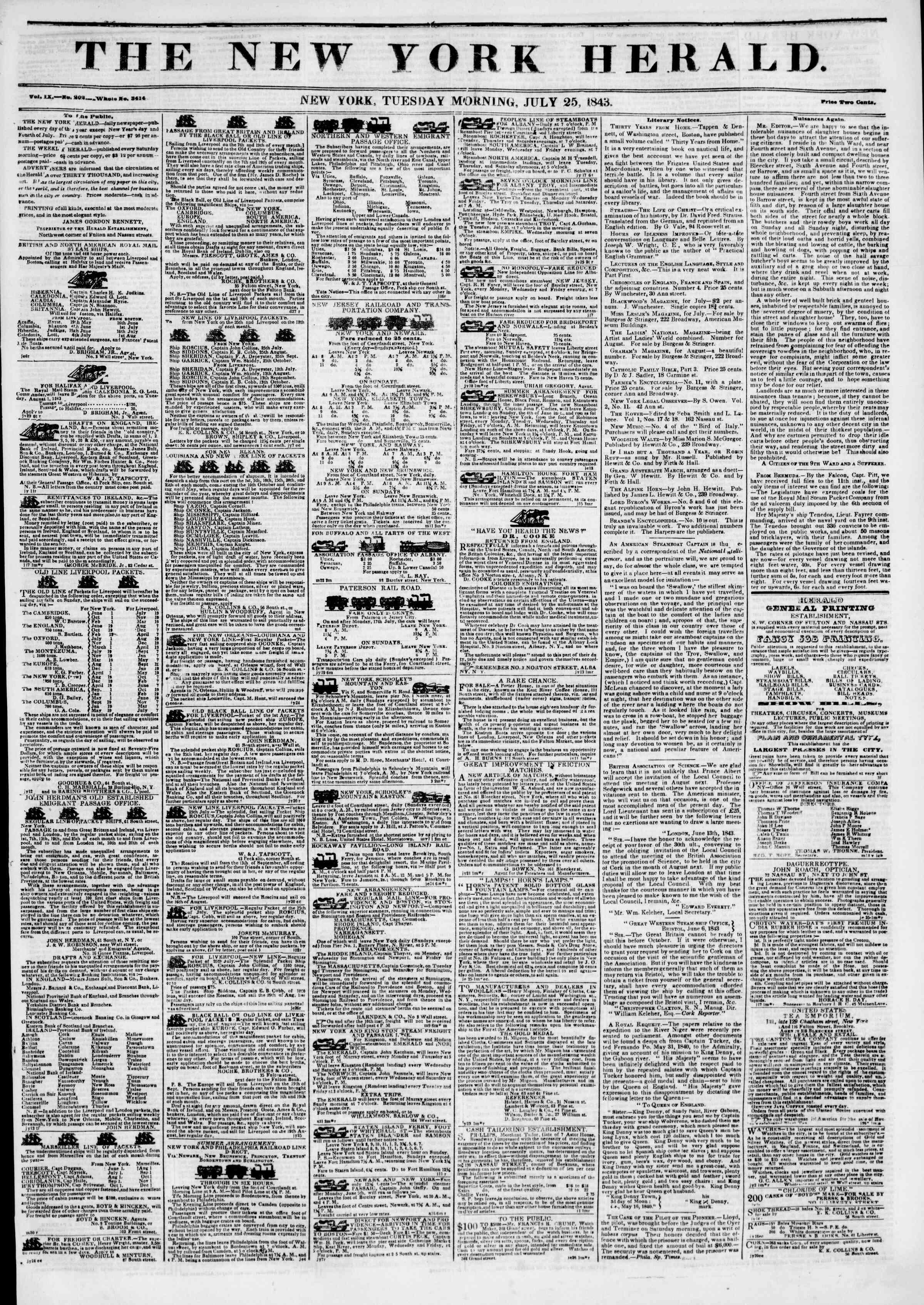 July 25, 1843 Tarihli The New York Herald Gazetesi Sayfa 1