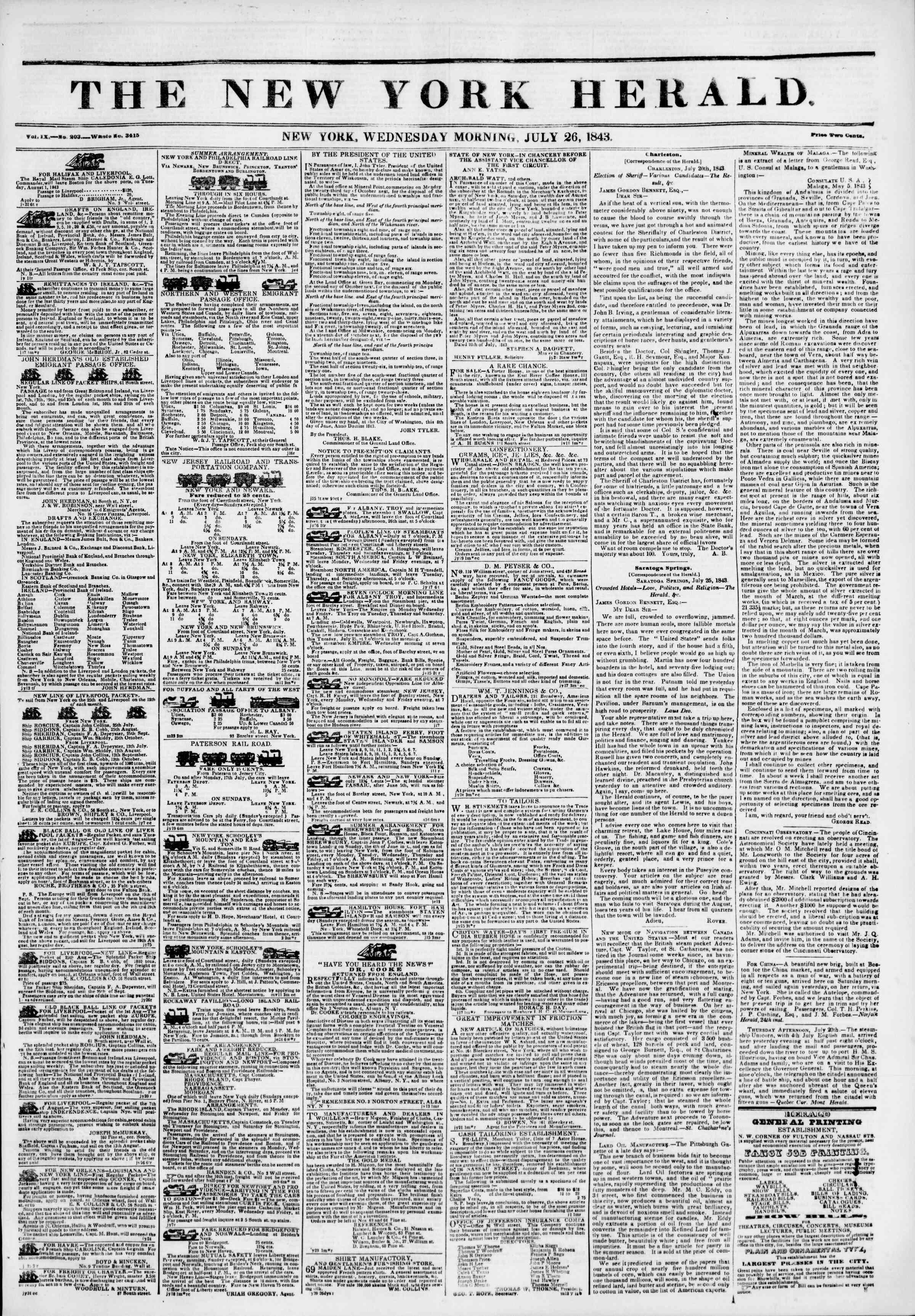 July 26, 1843 Tarihli The New York Herald Gazetesi Sayfa 1
