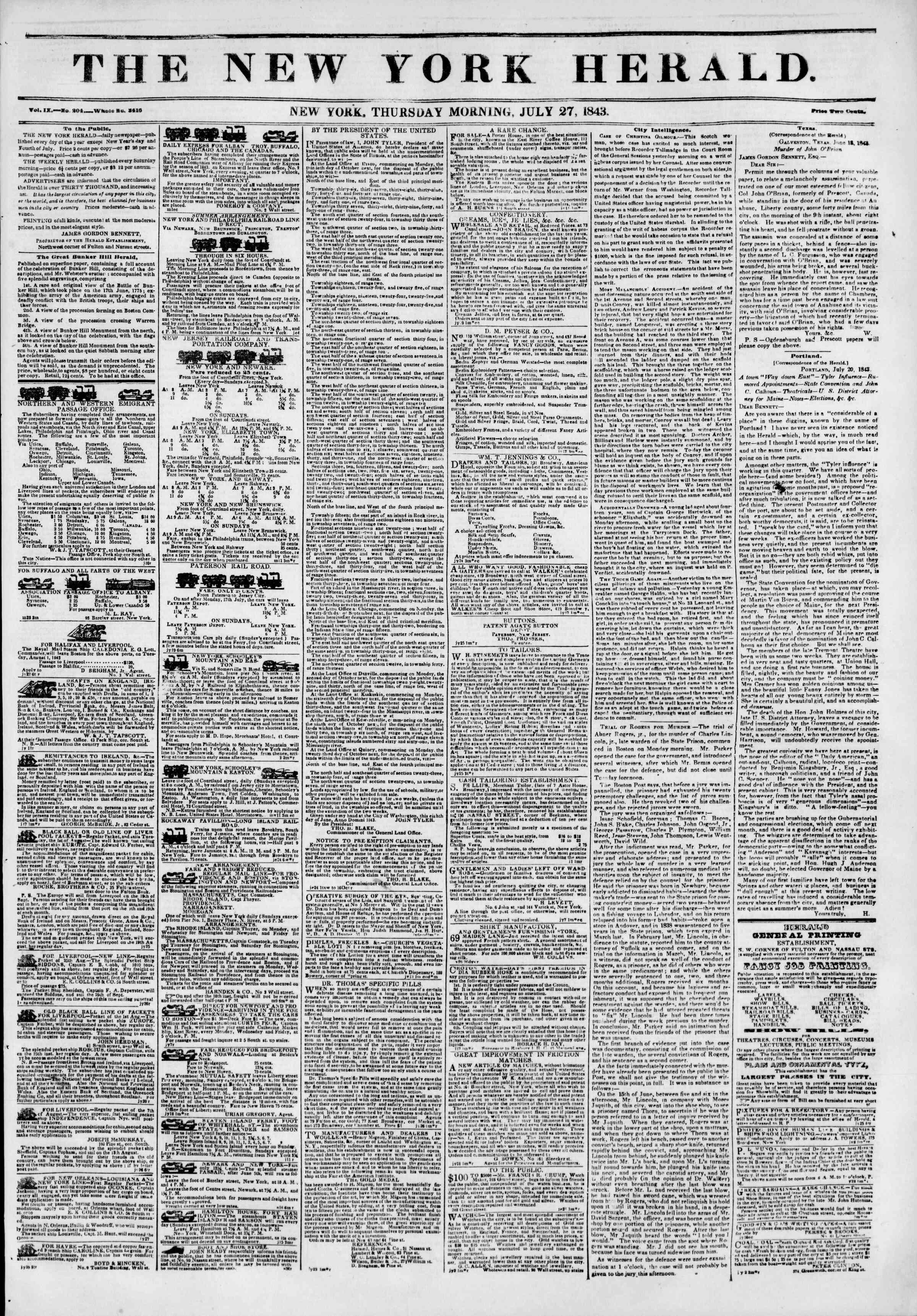July 27, 1843 Tarihli The New York Herald Gazetesi Sayfa 1