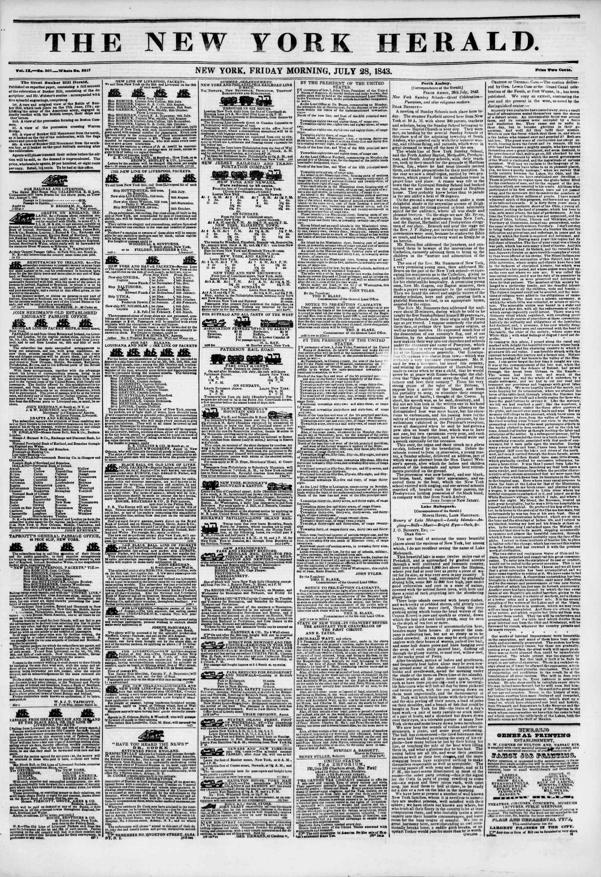 July 28, 1843 Tarihli The New York Herald Gazetesi Sayfa 1