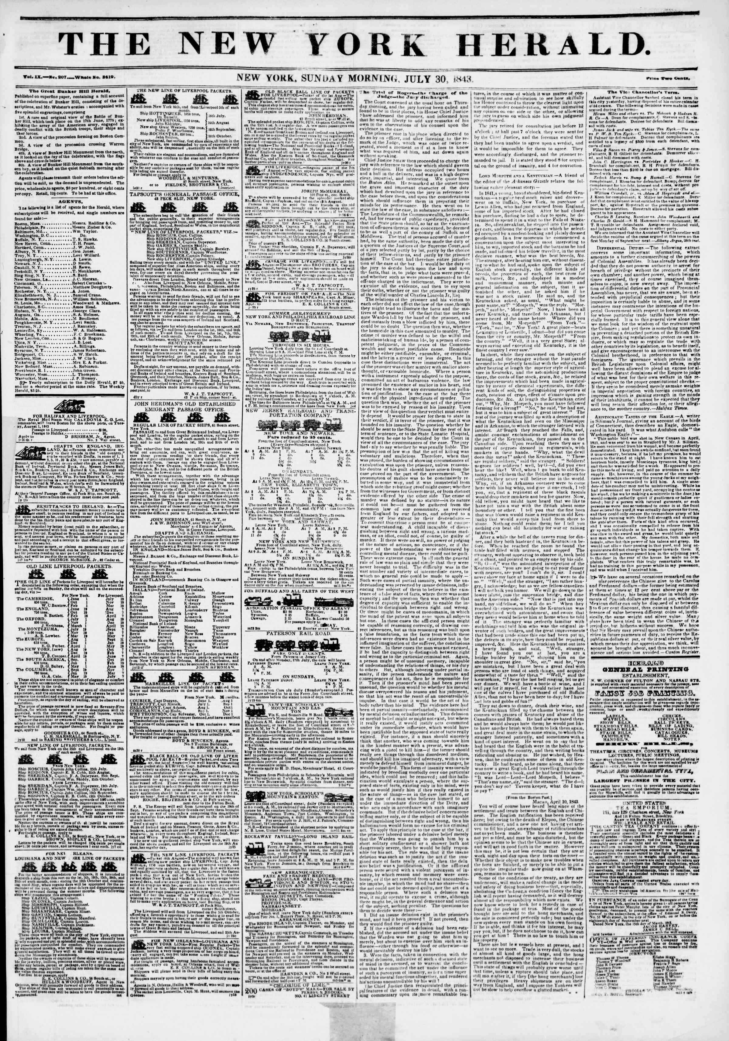 30 Temmuz 1843 Tarihli The New York Herald Gazetesi Sayfa 1