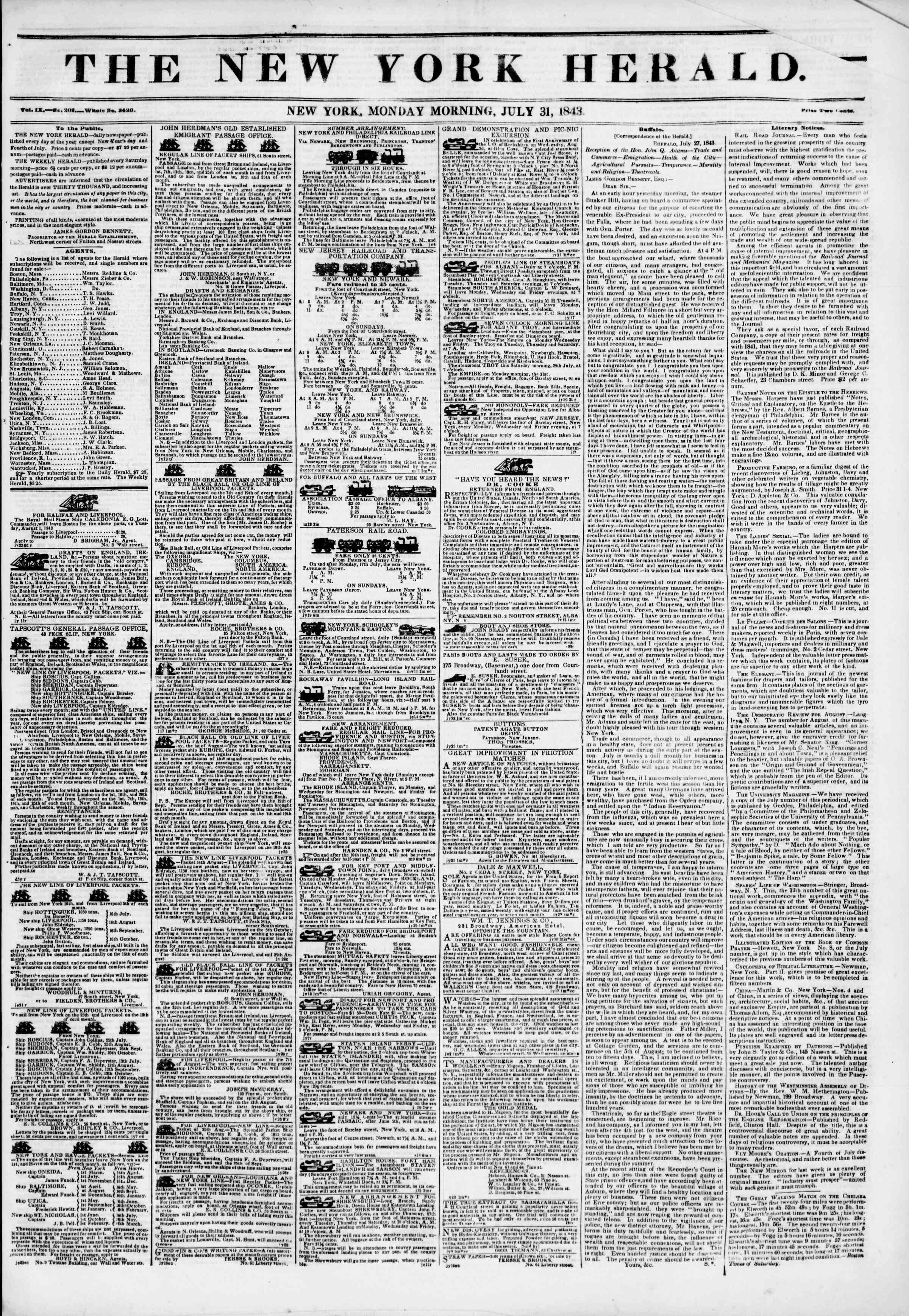 July 31, 1843 Tarihli The New York Herald Gazetesi Sayfa 1