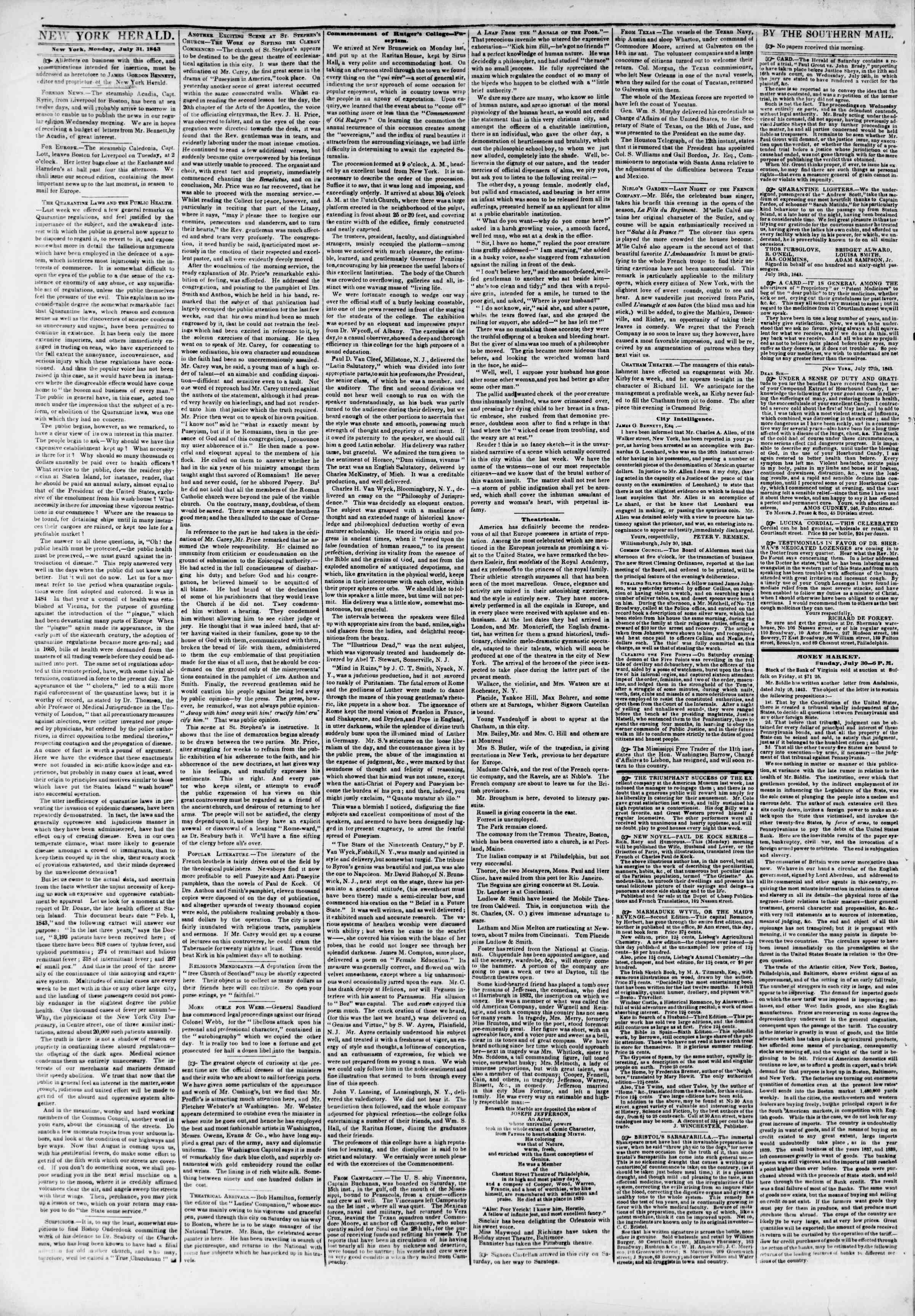 31 Temmuz 1843 Tarihli The New York Herald Gazetesi Sayfa 2
