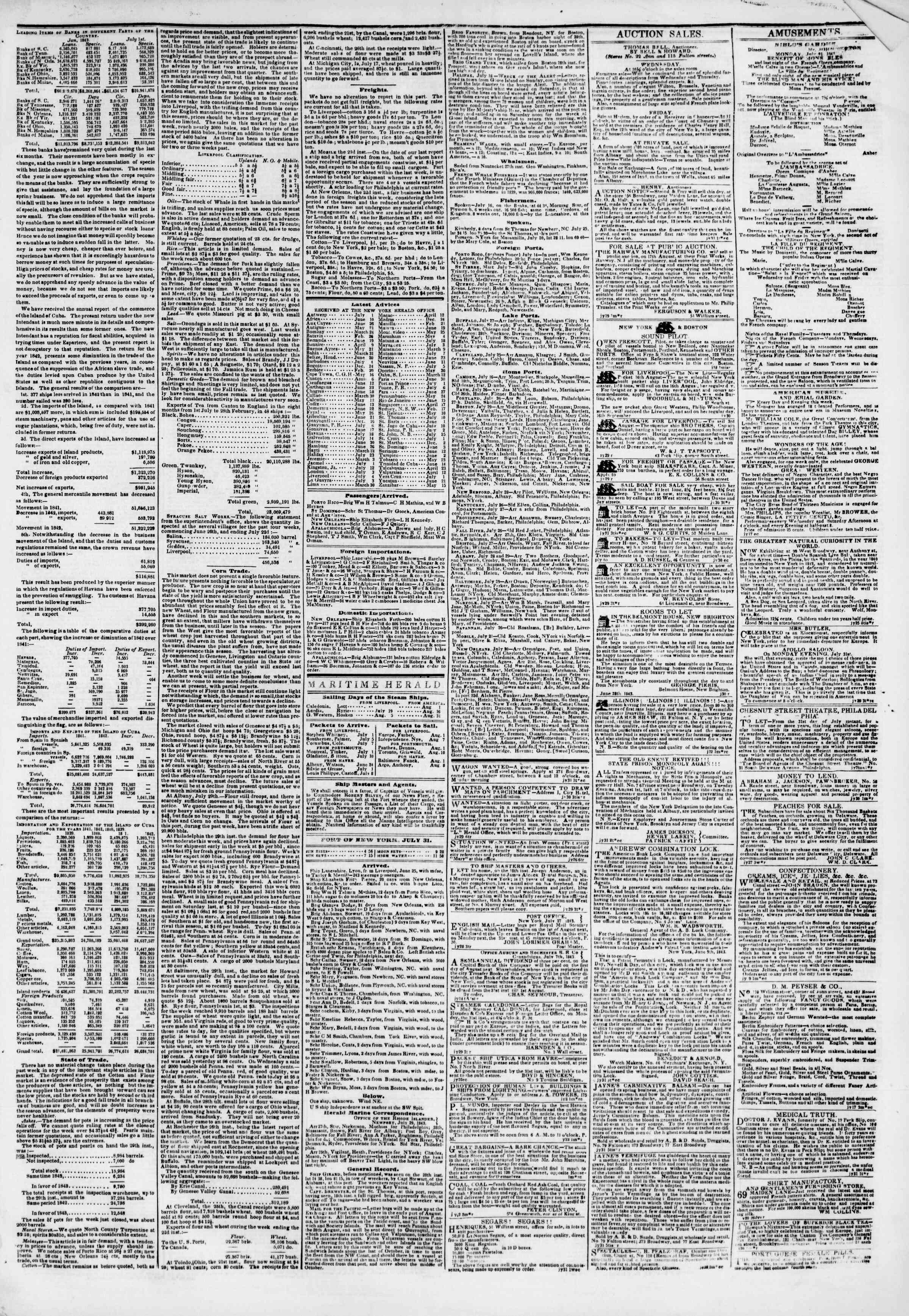 July 31, 1843 Tarihli The New York Herald Gazetesi Sayfa 3