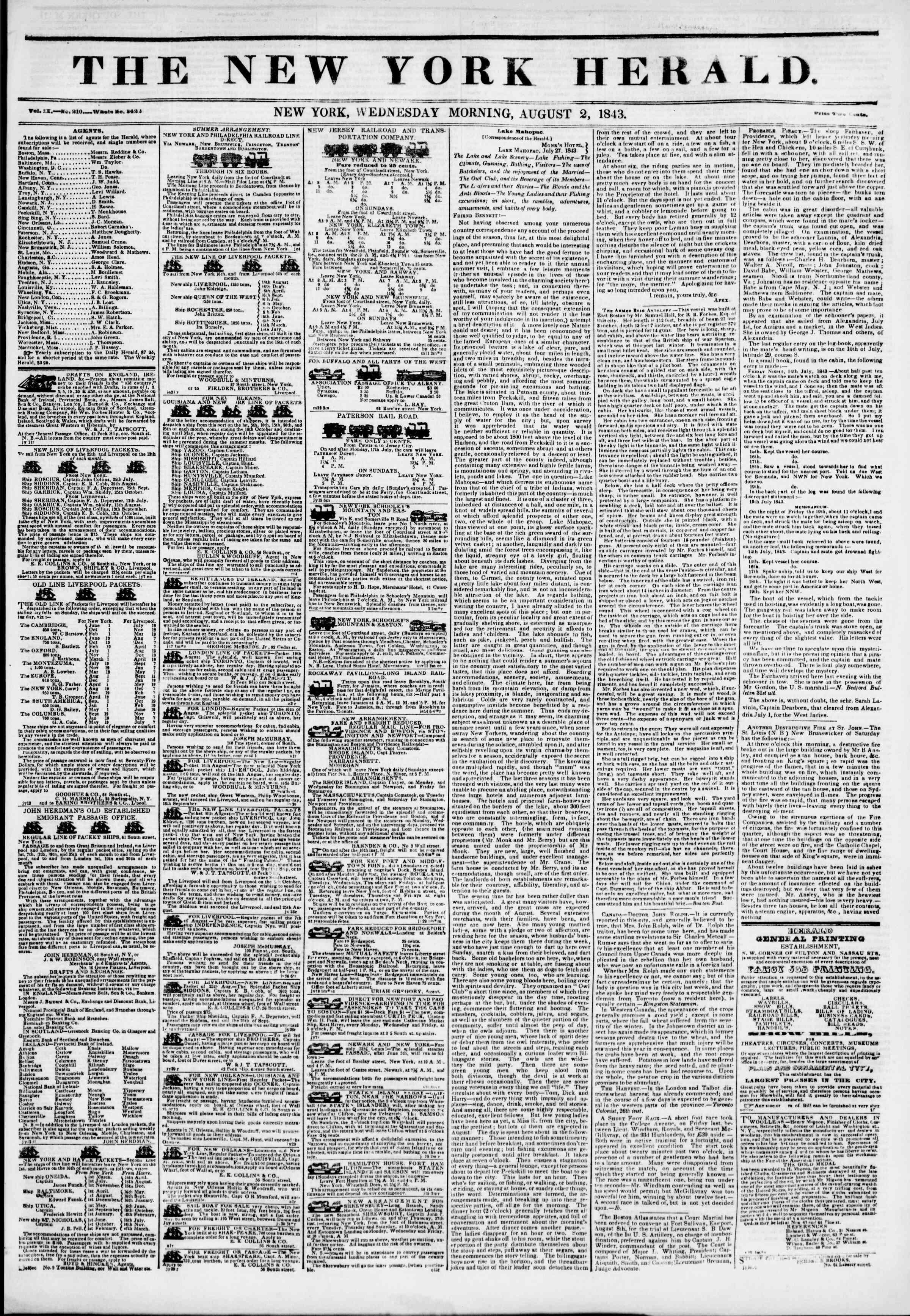 August 2, 1843 Tarihli The New York Herald Gazetesi Sayfa 1