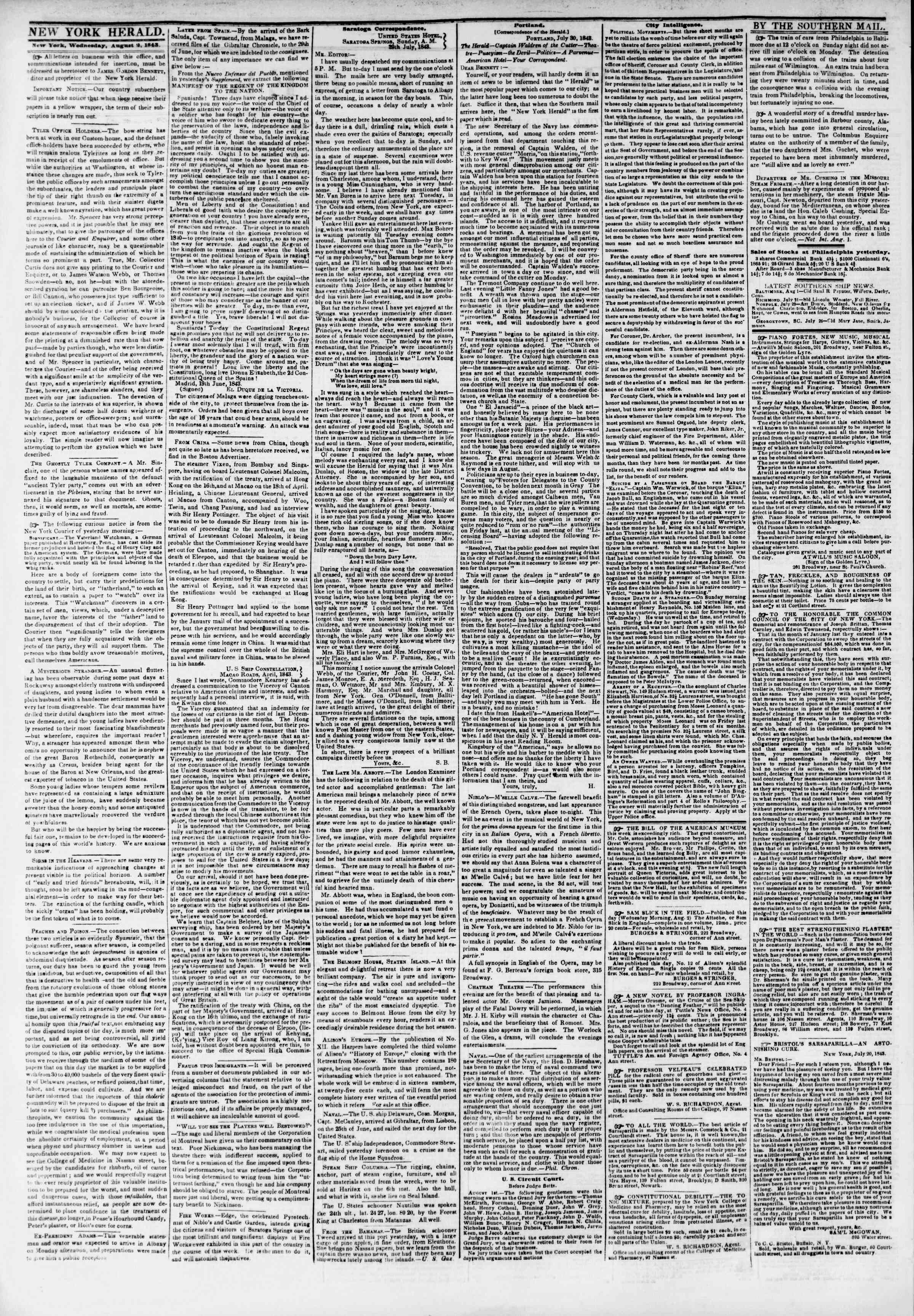 Newspaper of The New York Herald dated August 2, 1843 Page 2