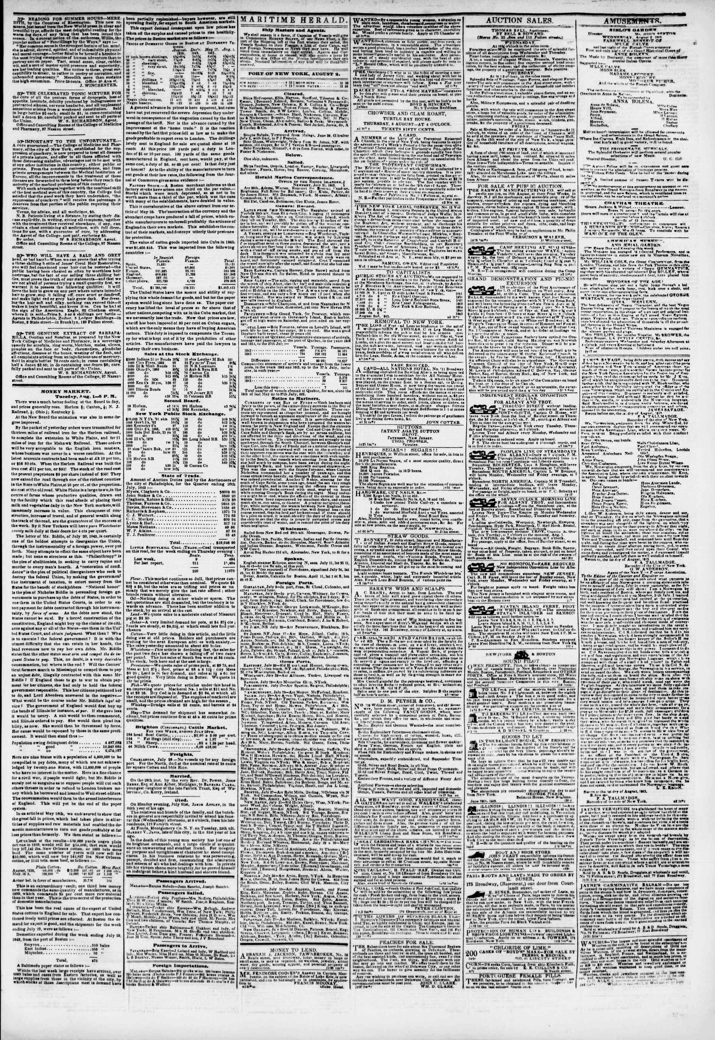 August 2, 1843 Tarihli The New York Herald Gazetesi Sayfa 3