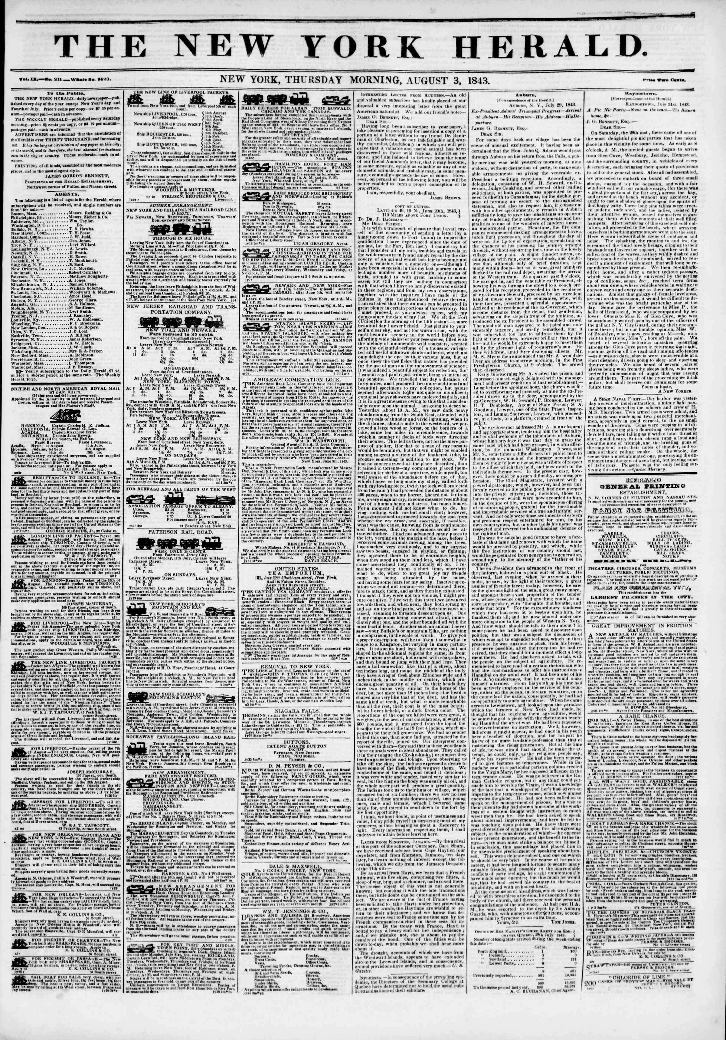 Newspaper of The New York Herald dated August 3, 1843 Page 1
