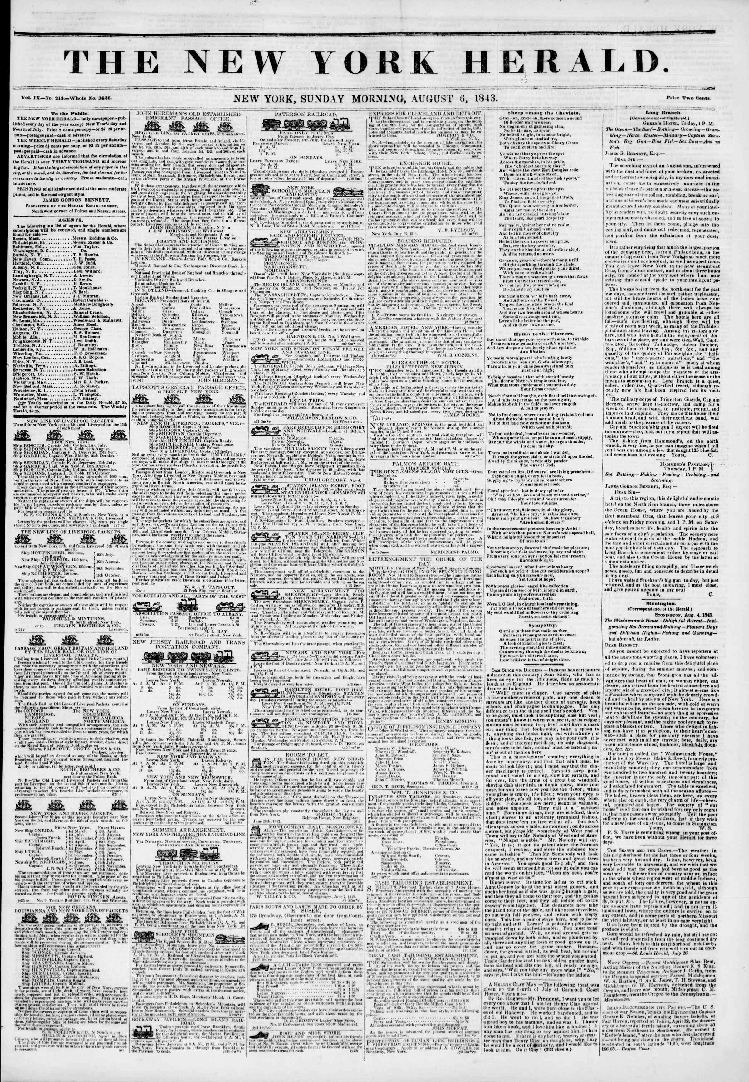 Newspaper of The New York Herald dated August 6, 1843 Page 1