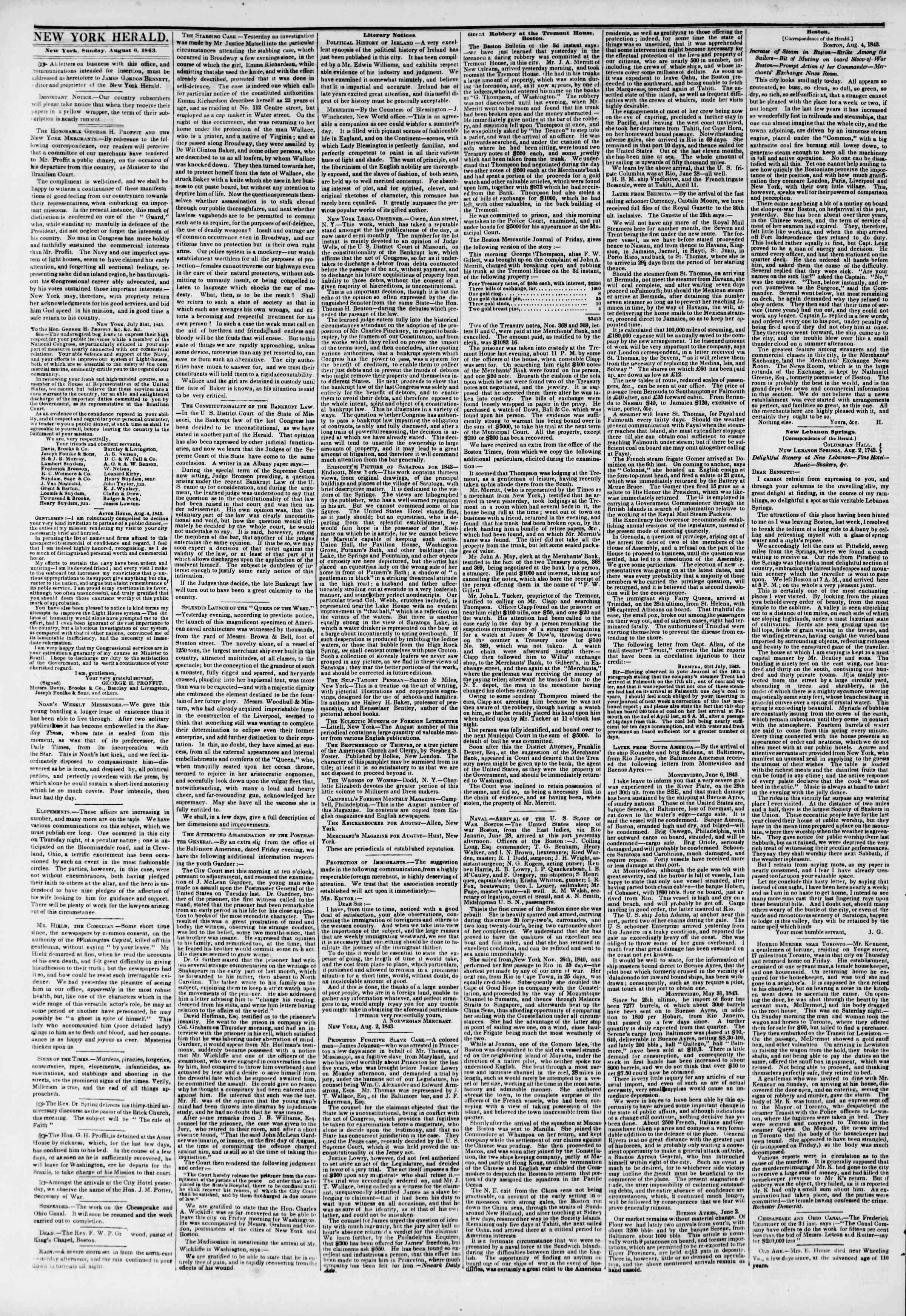 August 6, 1843 Tarihli The New York Herald Gazetesi Sayfa 2