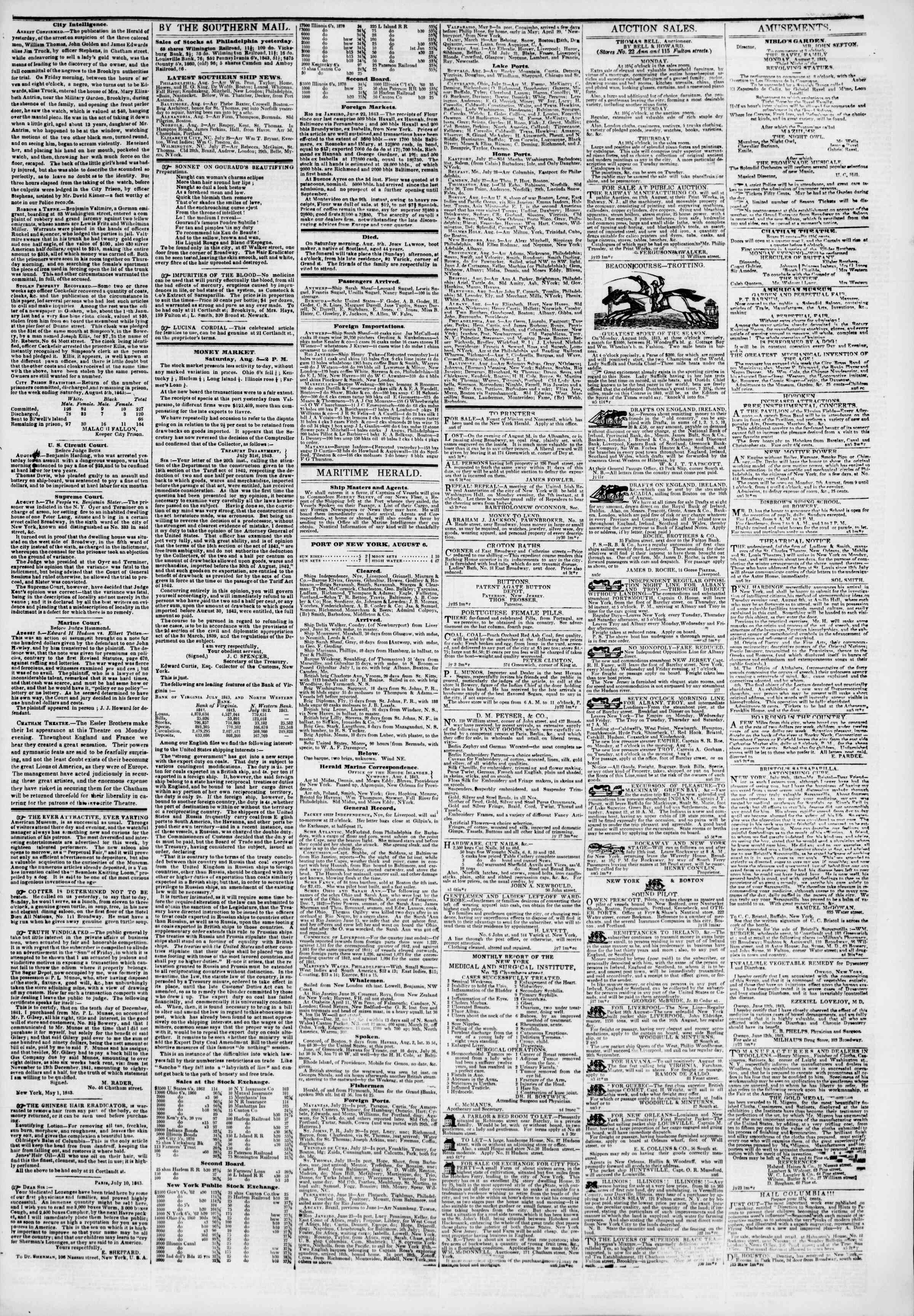 Newspaper of The New York Herald dated August 6, 1843 Page 3