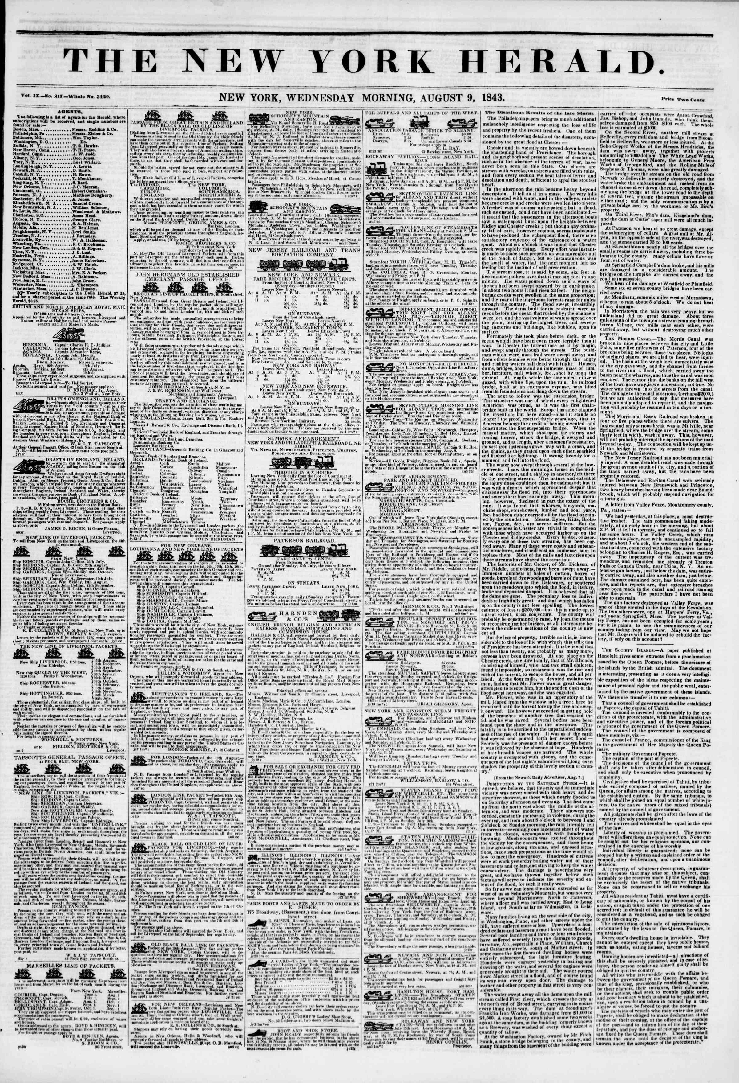 August 9, 1843 Tarihli The New York Herald Gazetesi Sayfa 1
