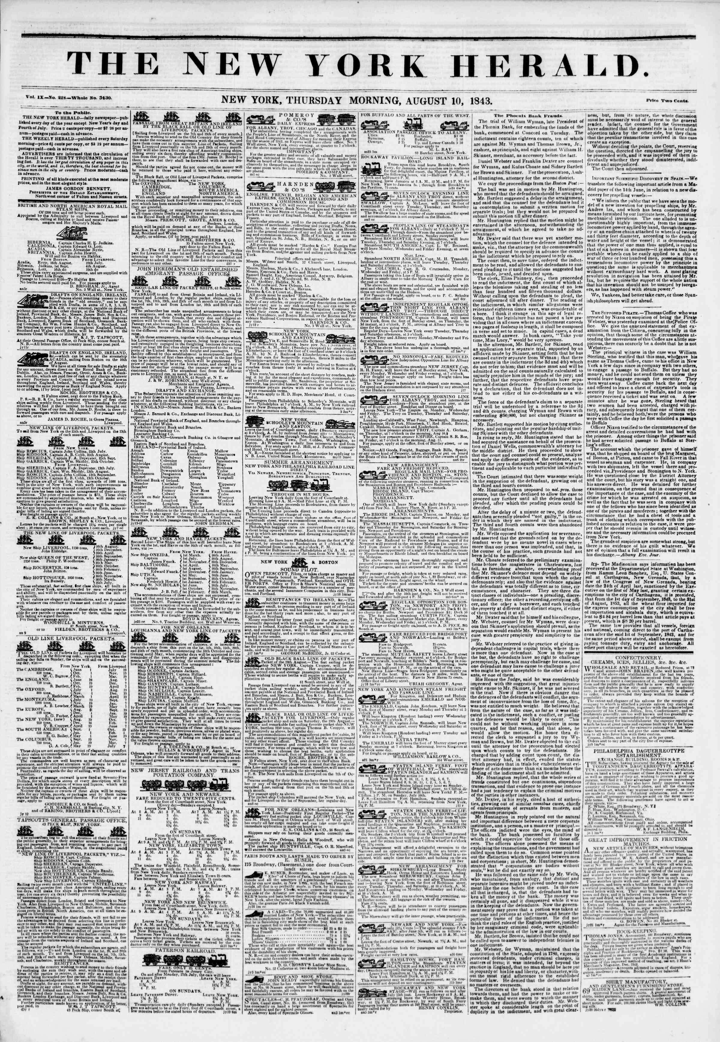 August 10, 1843 Tarihli The New York Herald Gazetesi Sayfa 1
