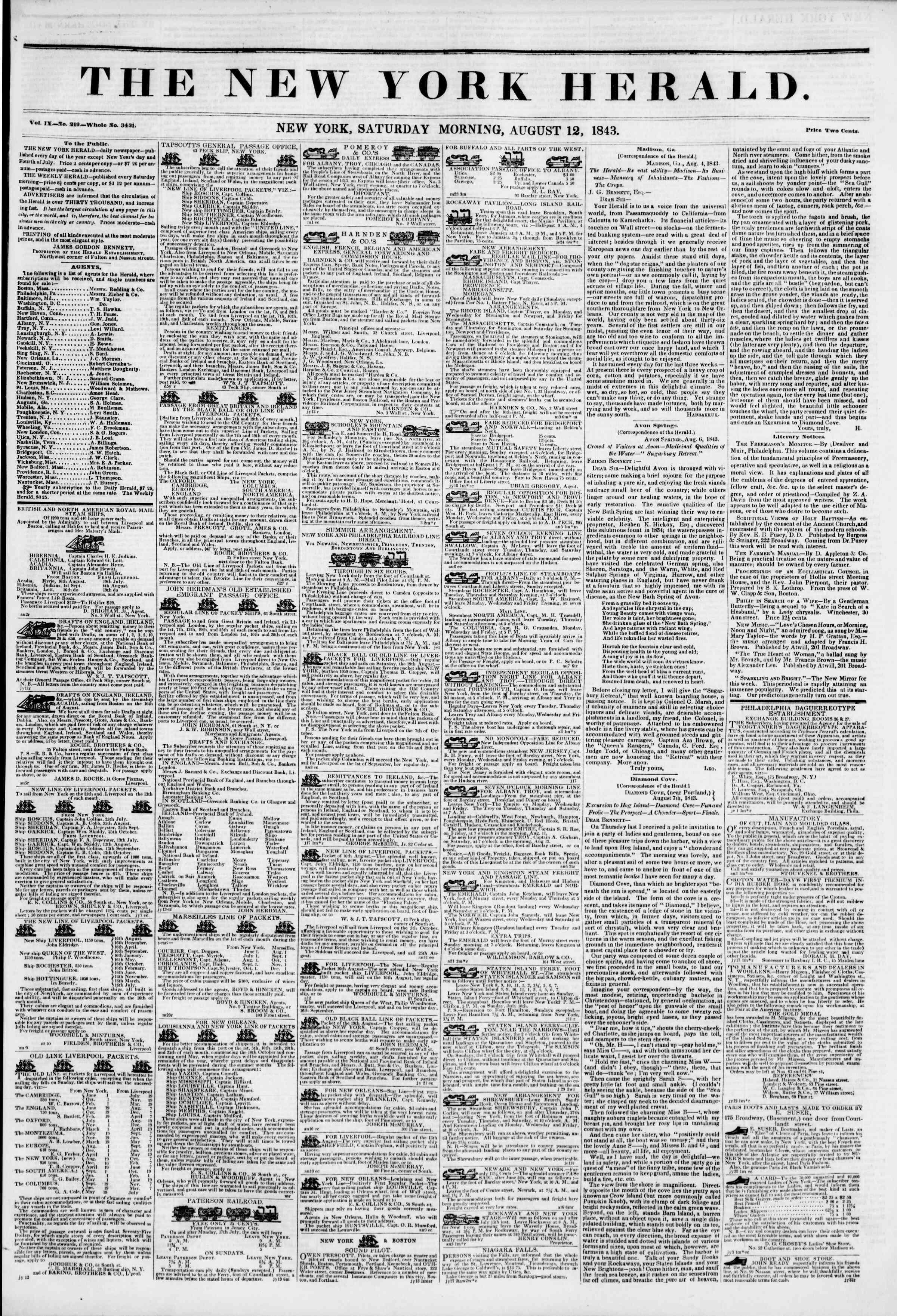 August 12, 1843 Tarihli The New York Herald Gazetesi Sayfa 1