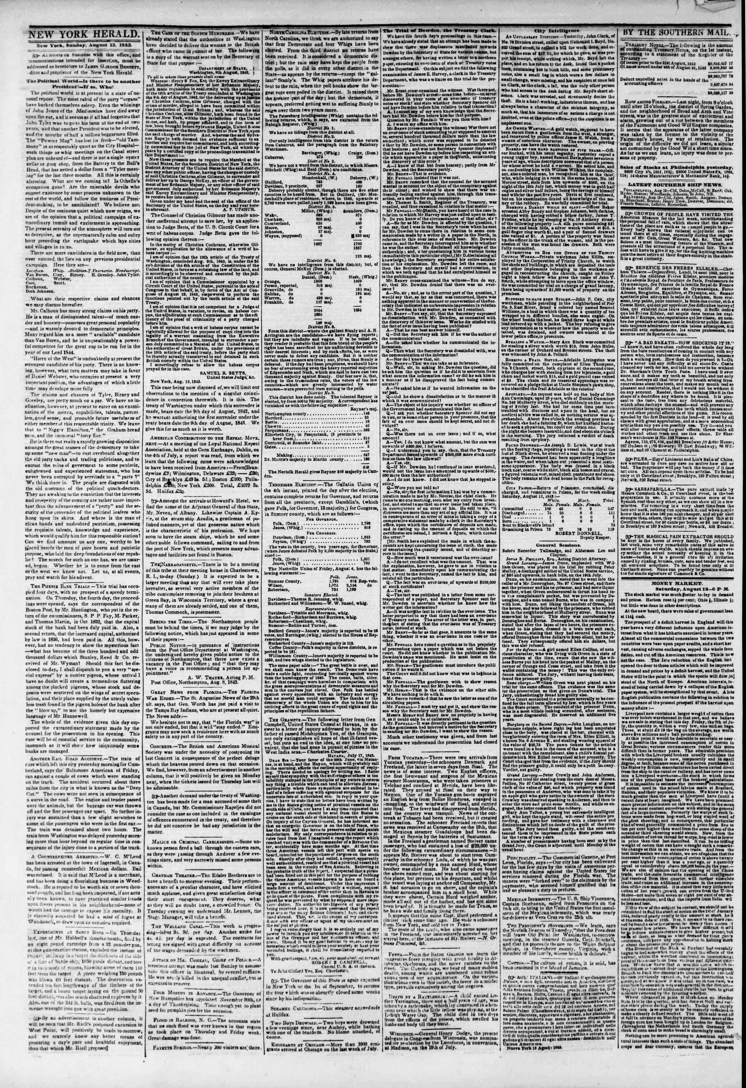 August 13, 1843 Tarihli The New York Herald Gazetesi Sayfa 2