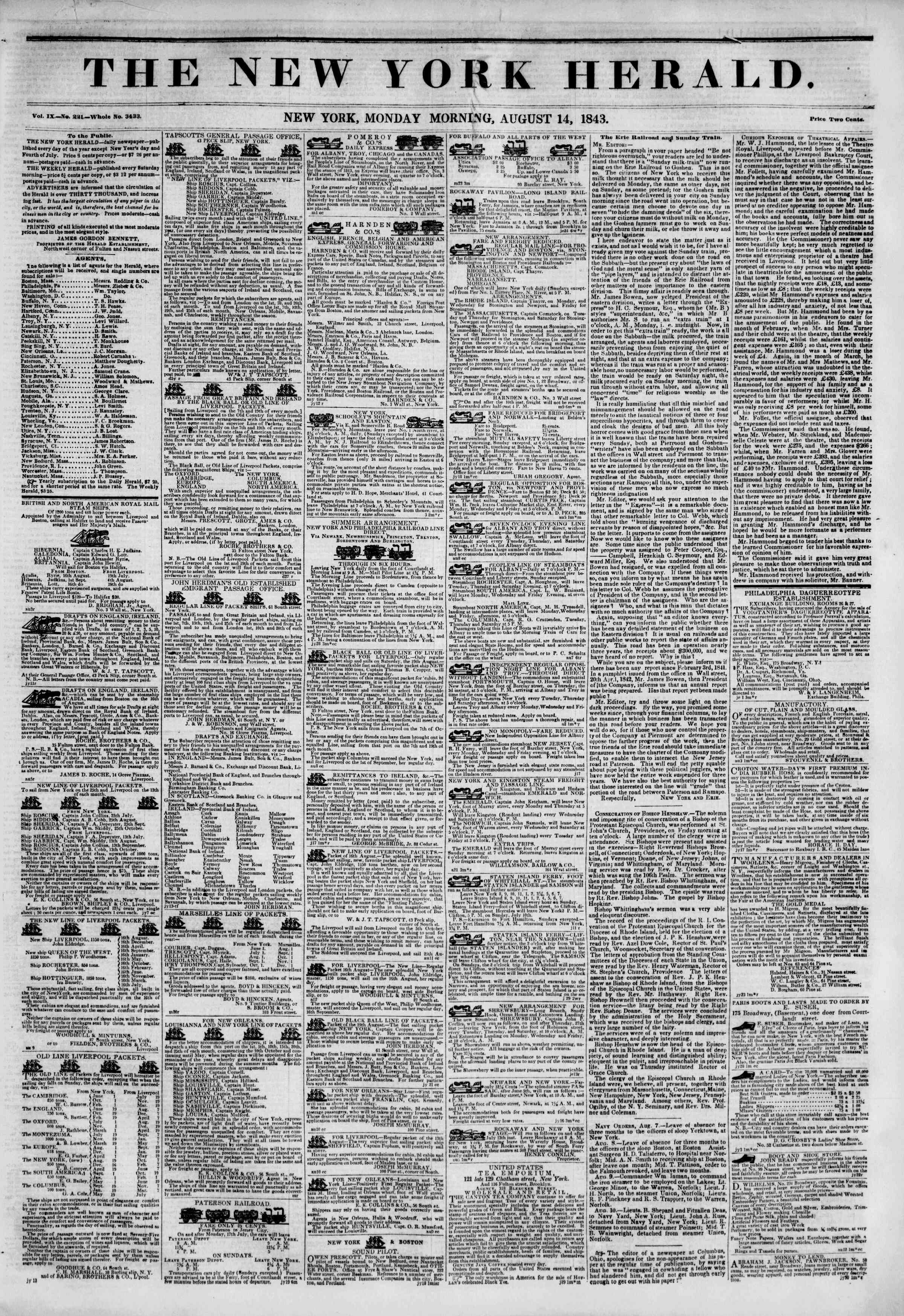 Newspaper of The New York Herald dated August 14, 1843 Page 1