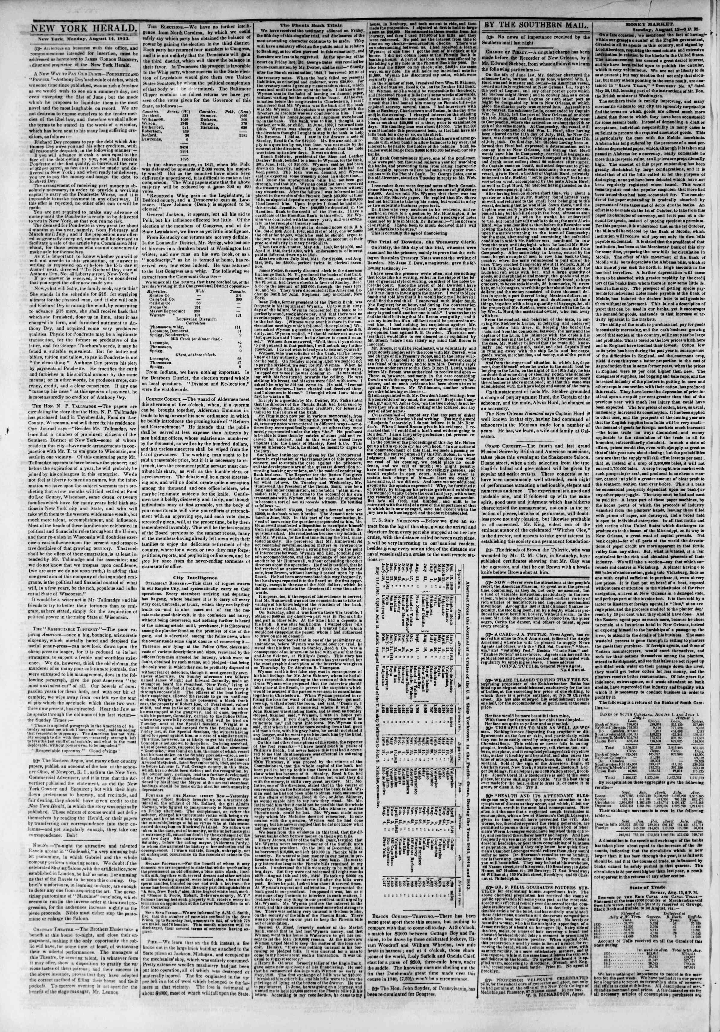 August 14, 1843 Tarihli The New York Herald Gazetesi Sayfa 2