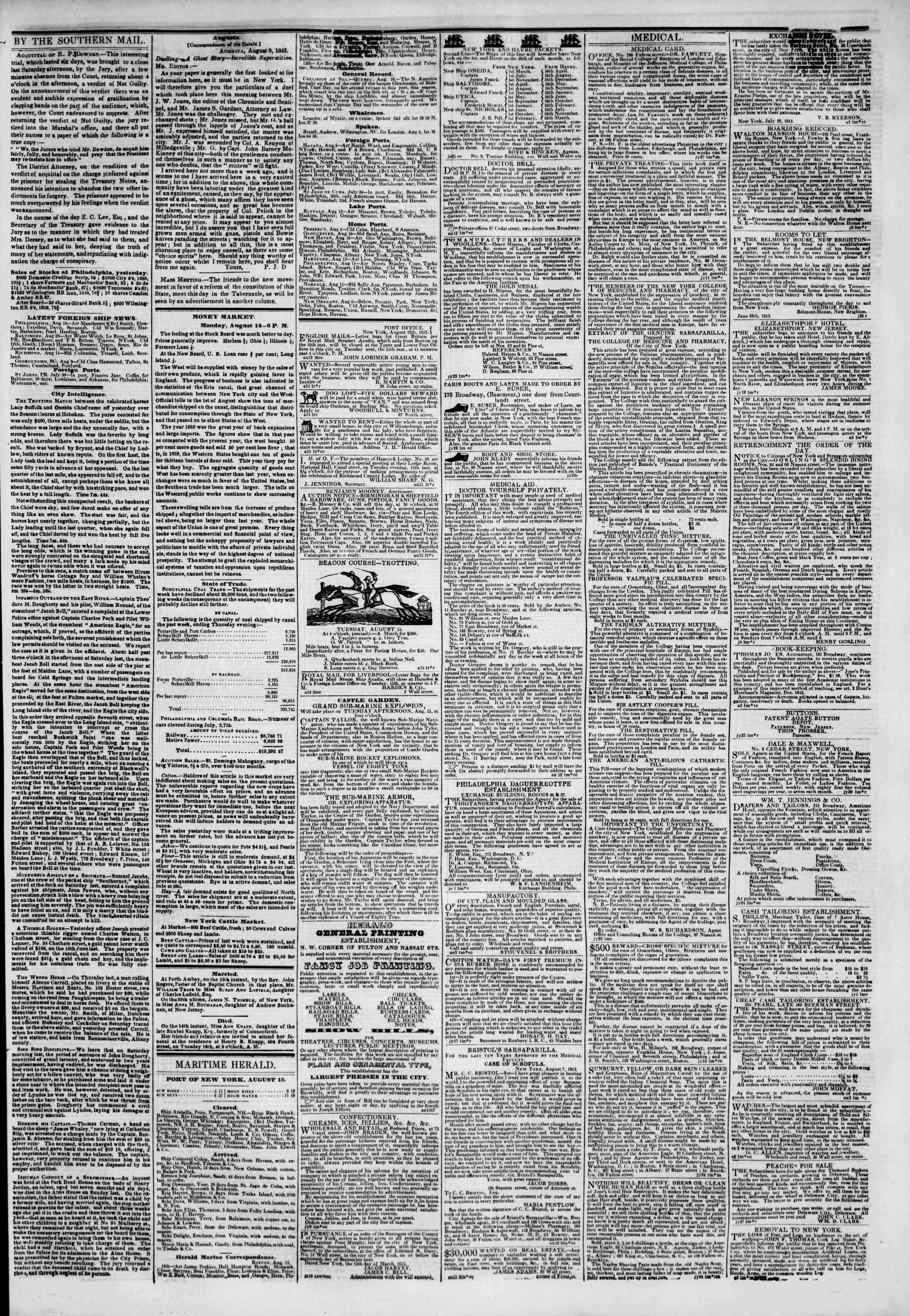 Newspaper of The New York Herald dated August 15, 1843 Page 3
