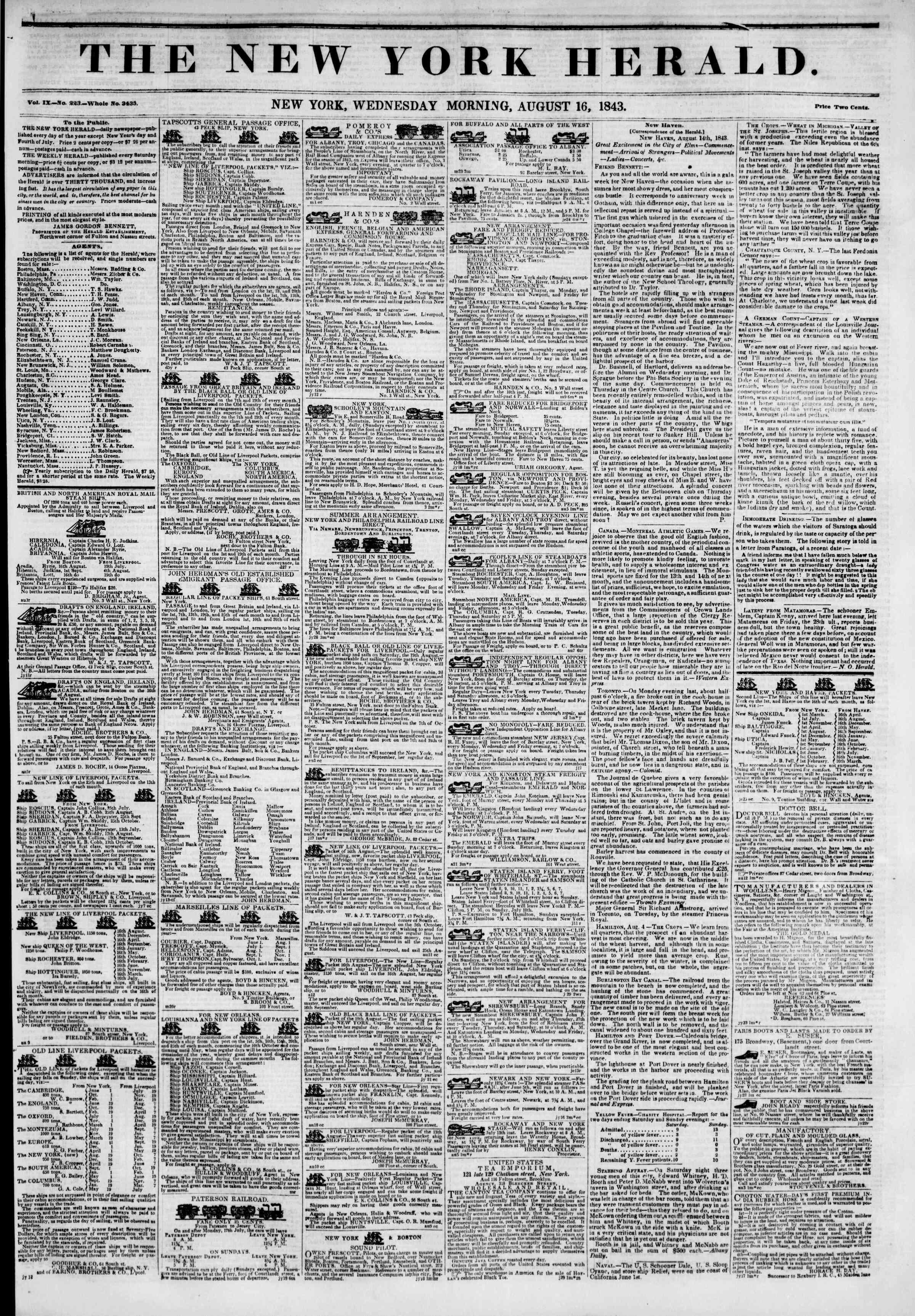 August 16, 1843 Tarihli The New York Herald Gazetesi Sayfa 1