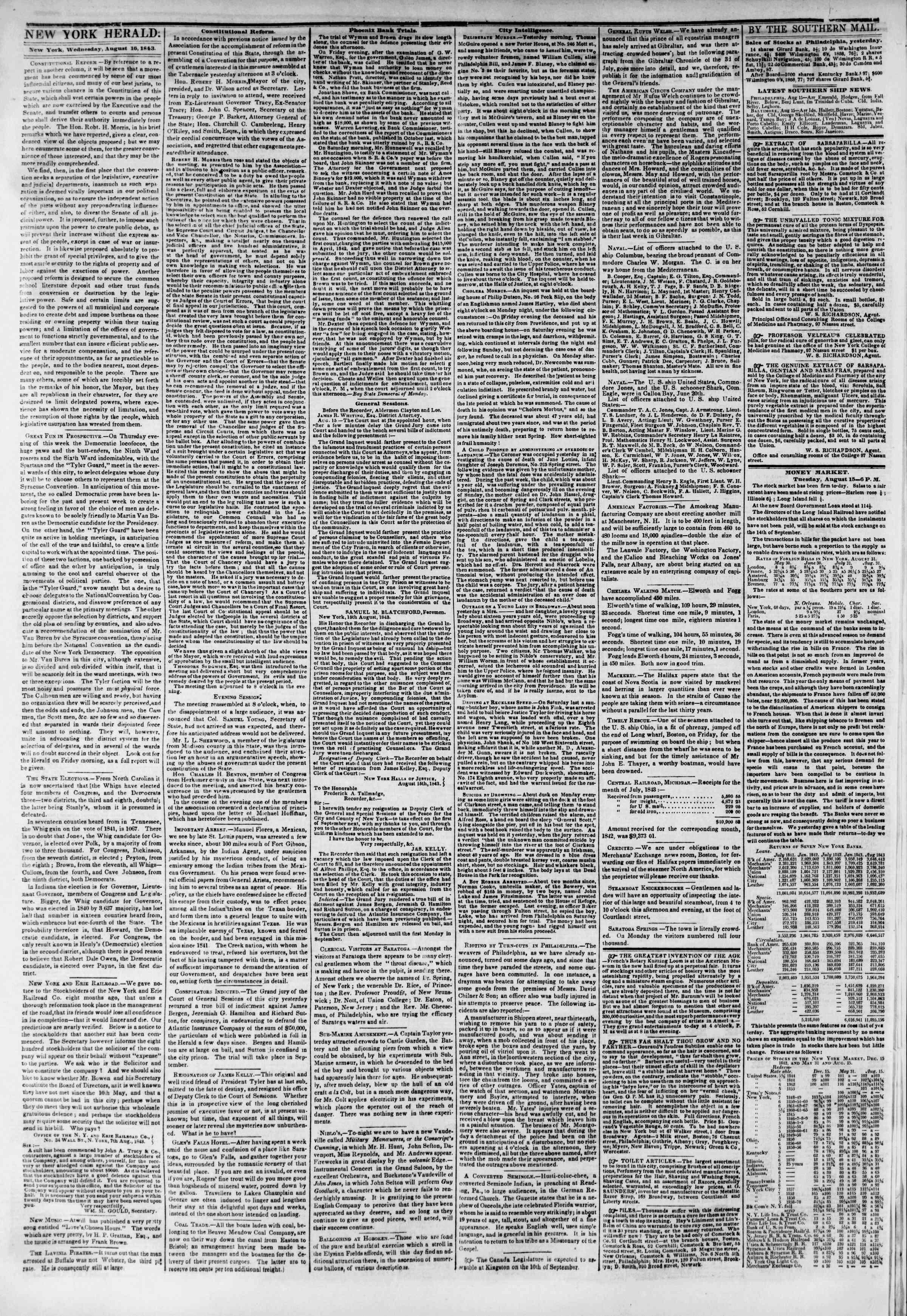 August 16, 1843 Tarihli The New York Herald Gazetesi Sayfa 2