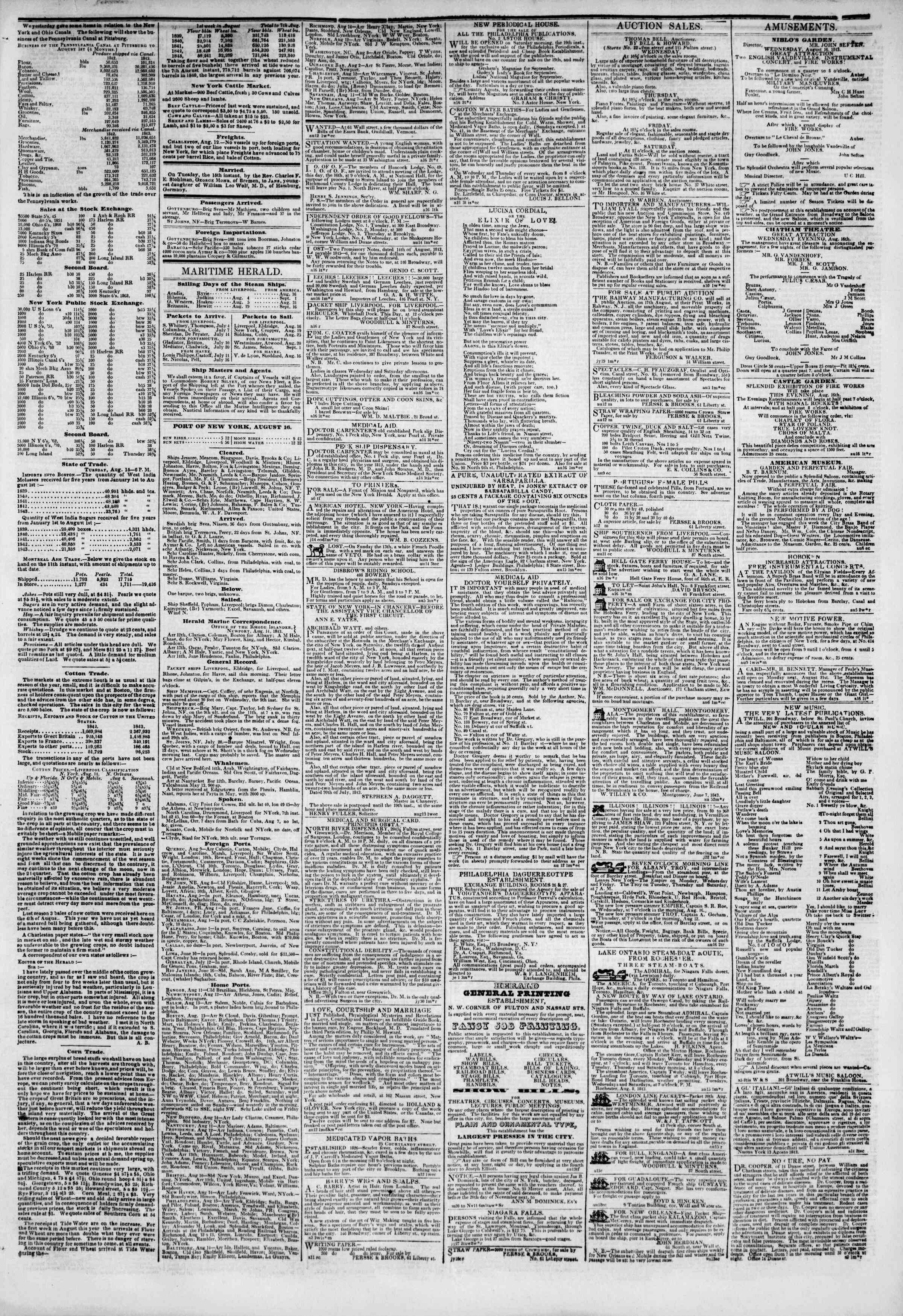 Newspaper of The New York Herald dated August 16, 1843 Page 3