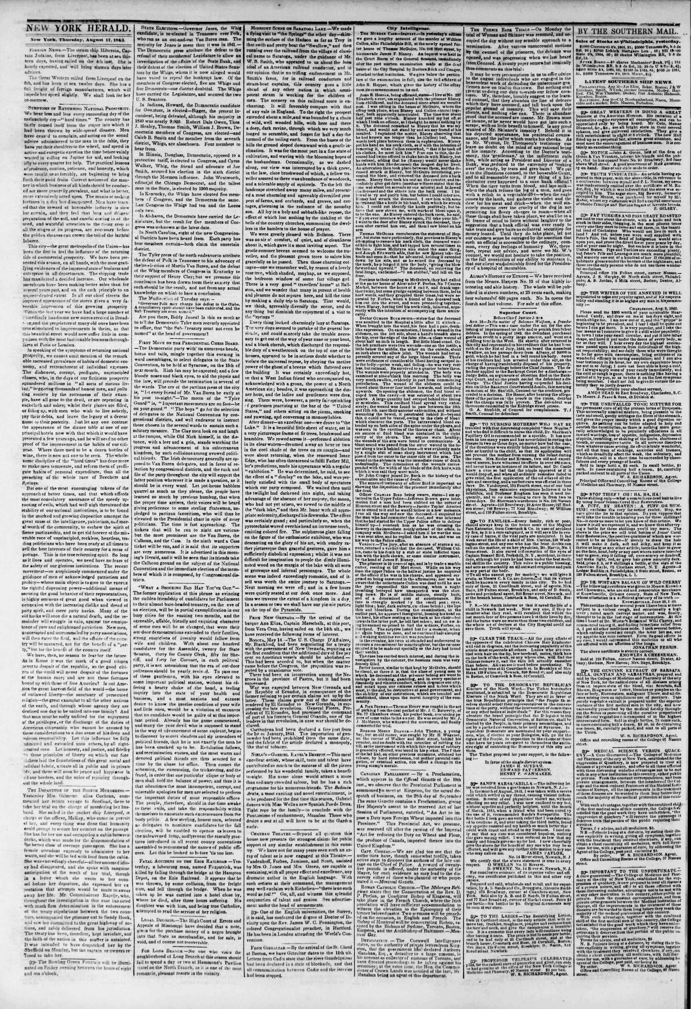 August 17, 1843 Tarihli The New York Herald Gazetesi Sayfa 2