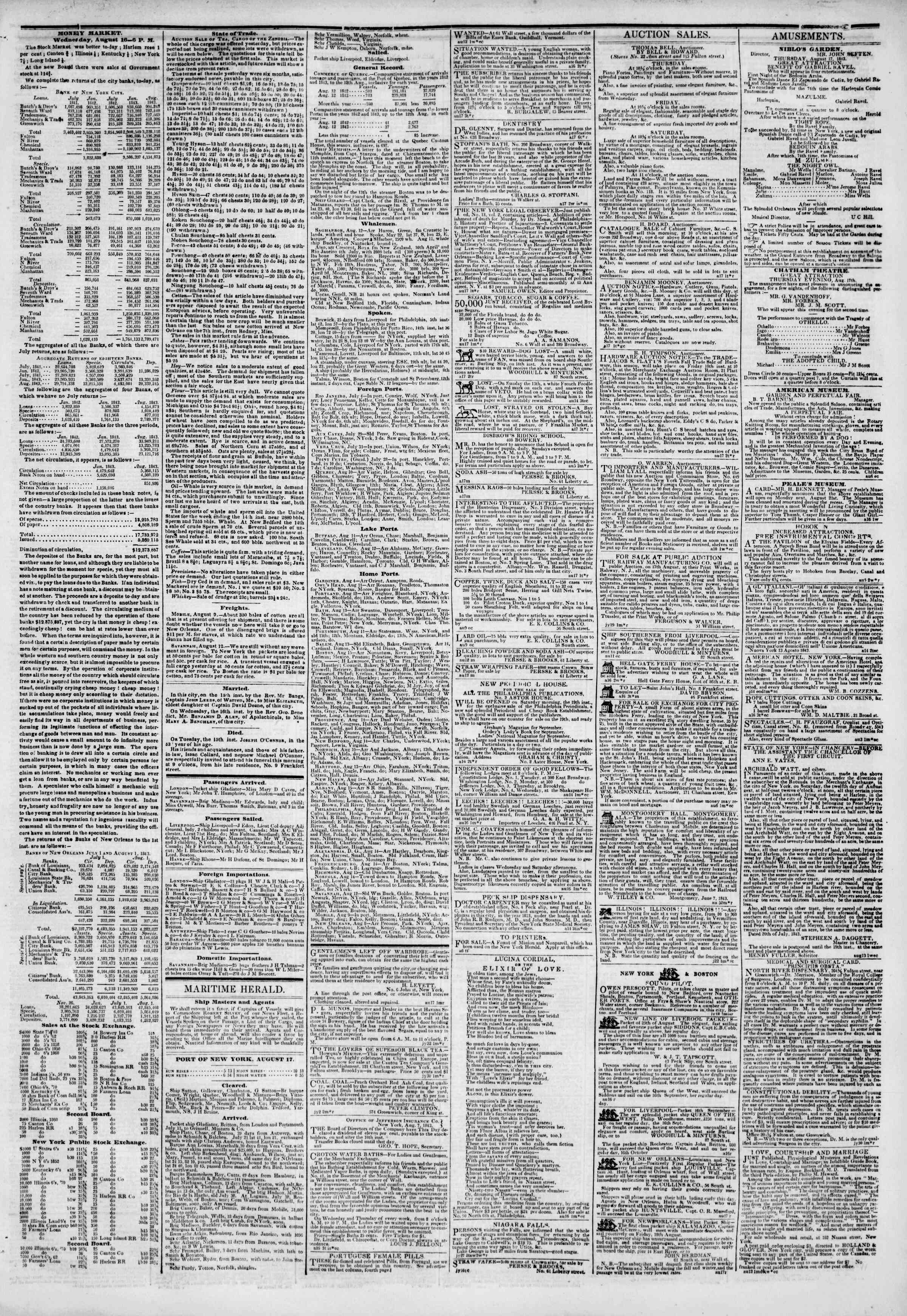 Newspaper of The New York Herald dated August 17, 1843 Page 3