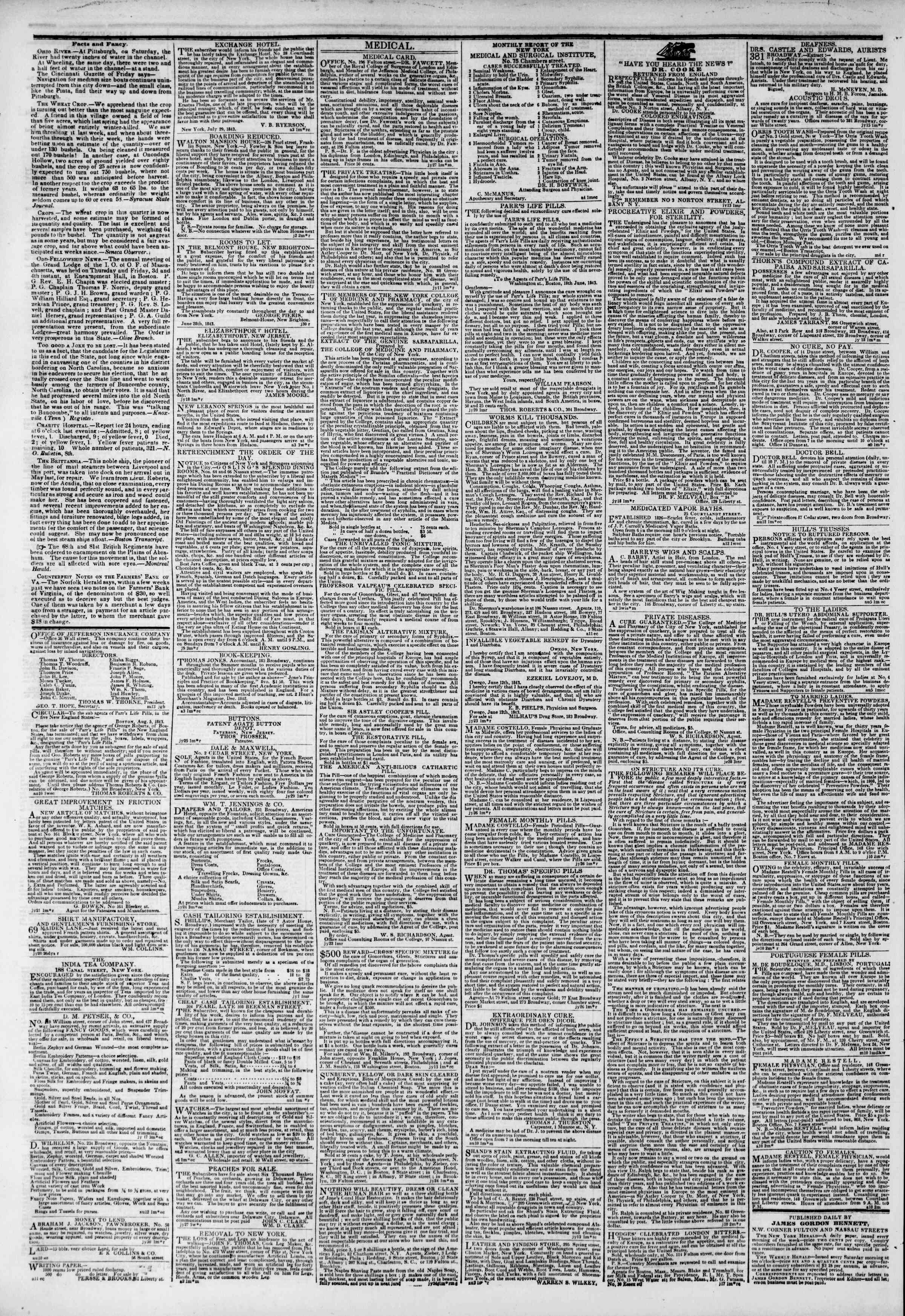 Newspaper of The New York Herald dated August 17, 1843 Page 4