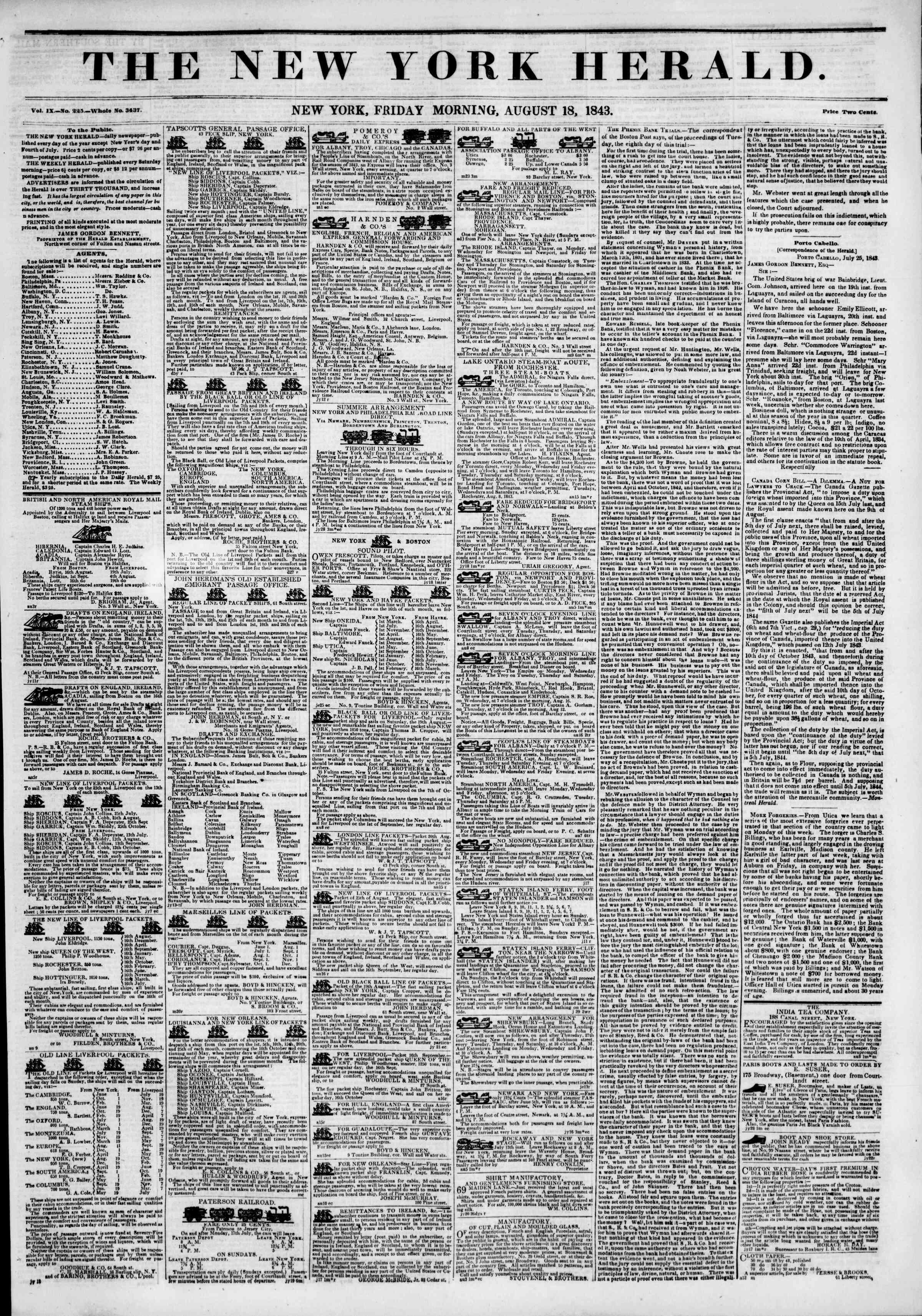 18 Ağustos 1843 tarihli The New York Herald Gazetesi Sayfa 1
