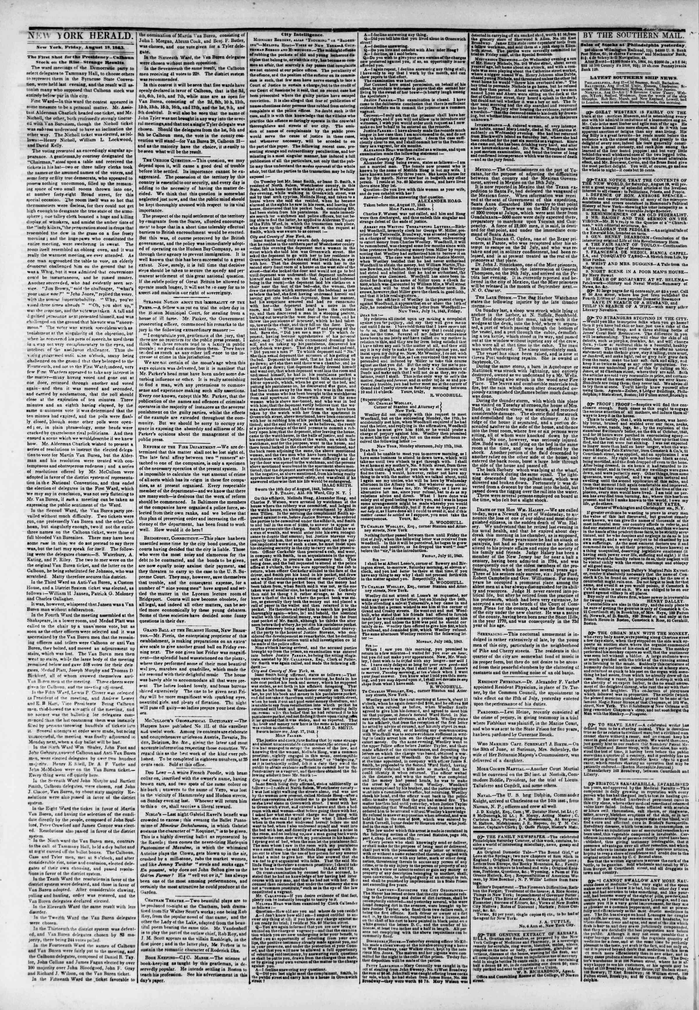 August 18, 1843 Tarihli The New York Herald Gazetesi Sayfa 2