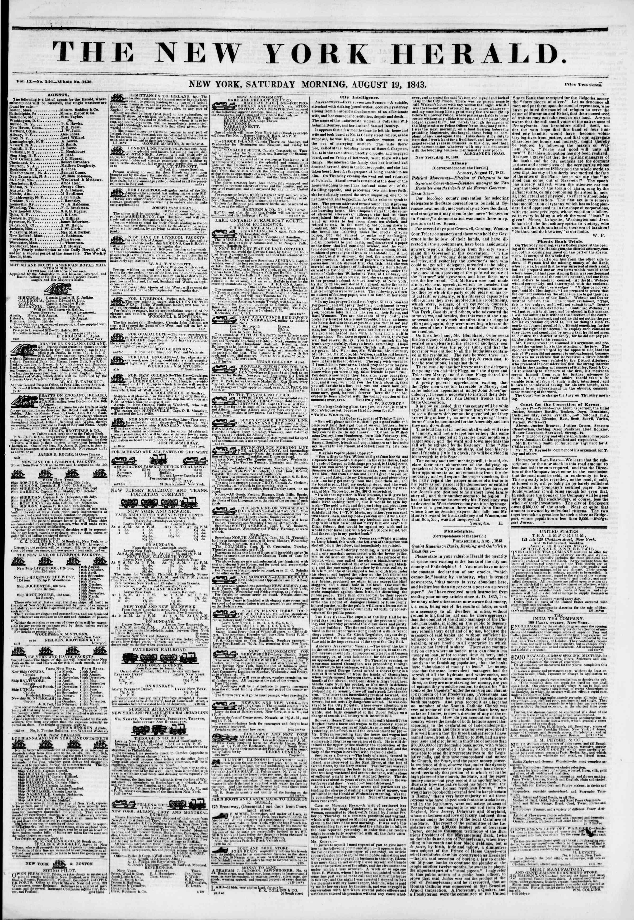 August 19, 1843 Tarihli The New York Herald Gazetesi Sayfa 1