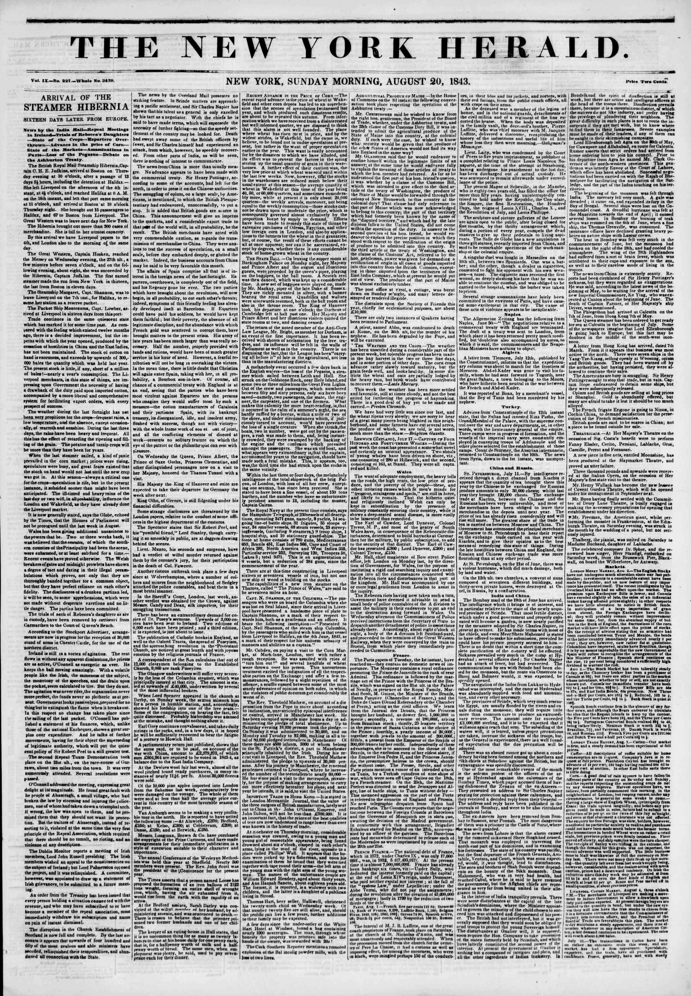 August 20, 1843 Tarihli The New York Herald Gazetesi Sayfa 1