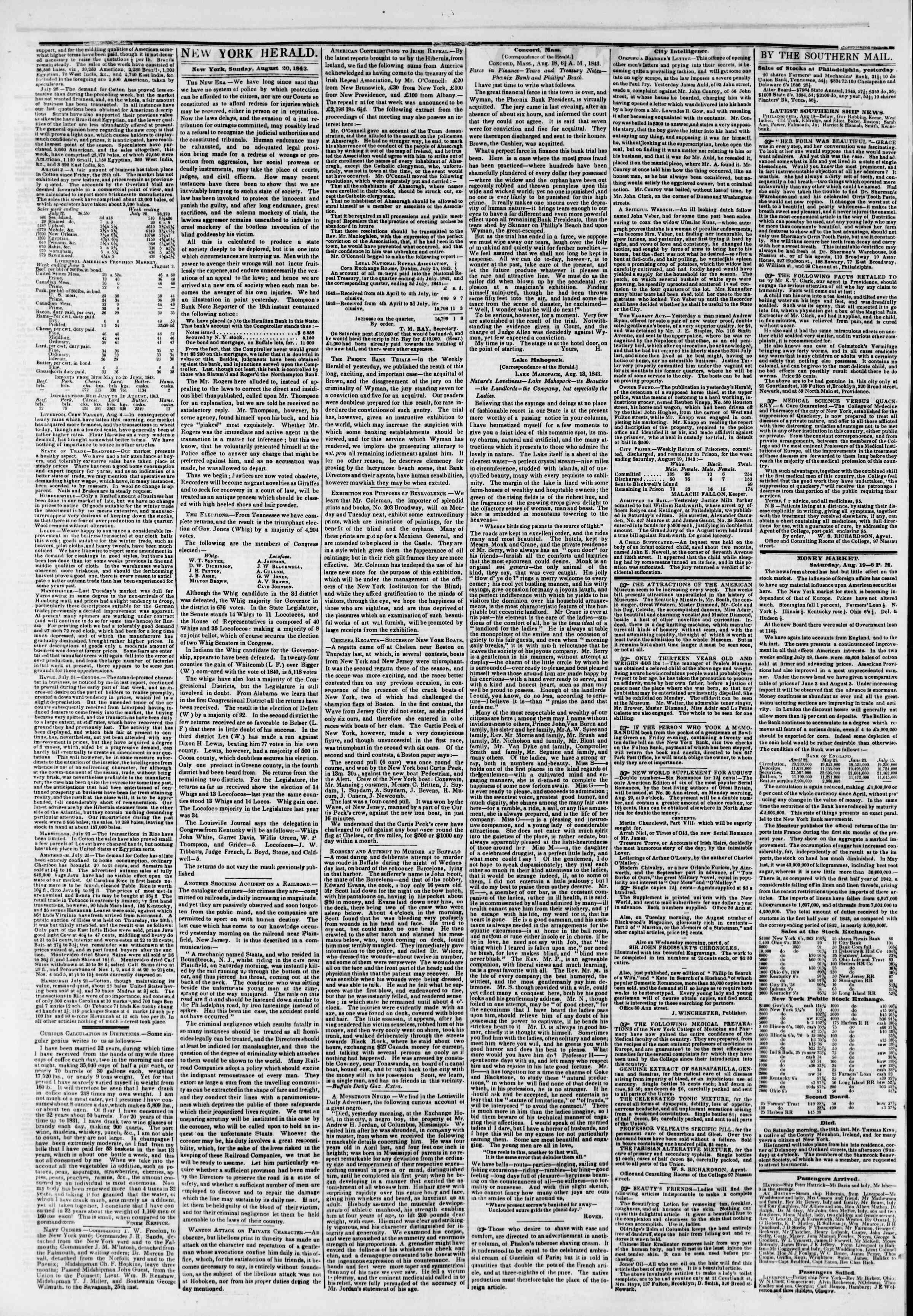 August 20, 1843 Tarihli The New York Herald Gazetesi Sayfa 2