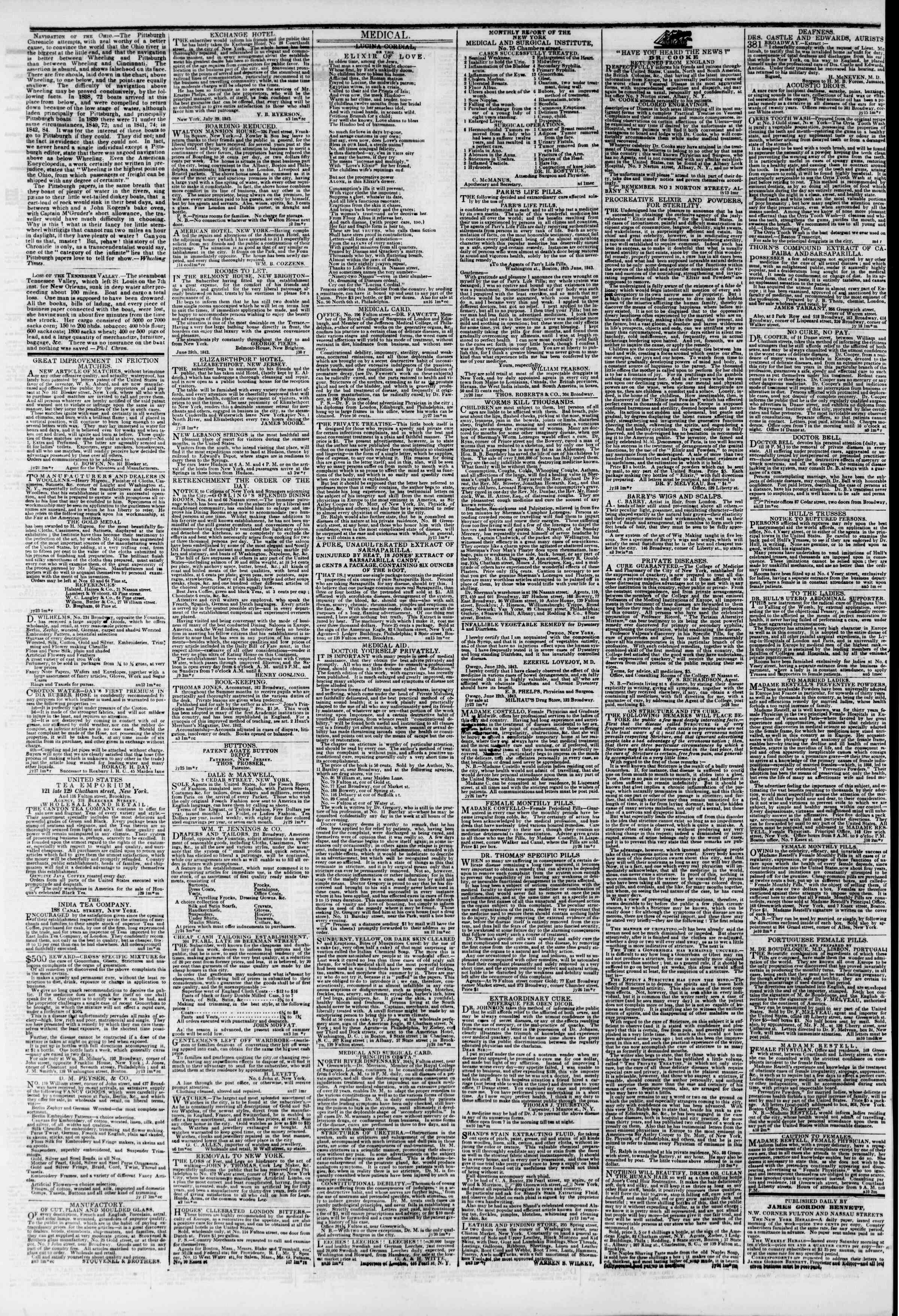 Newspaper of The New York Herald dated August 20, 1843 Page 4
