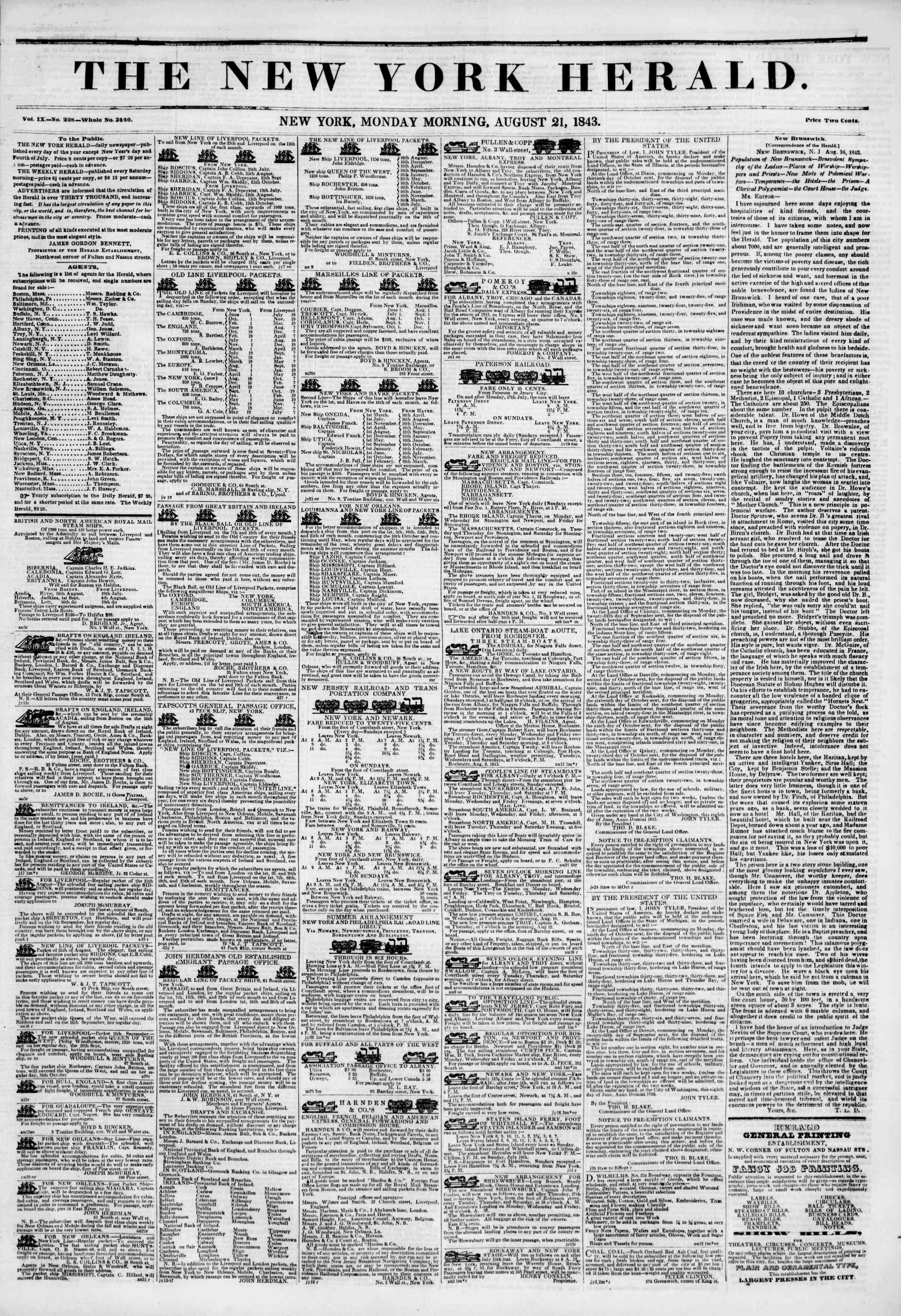 21 Ağustos 1843 tarihli The New York Herald Gazetesi Sayfa 1