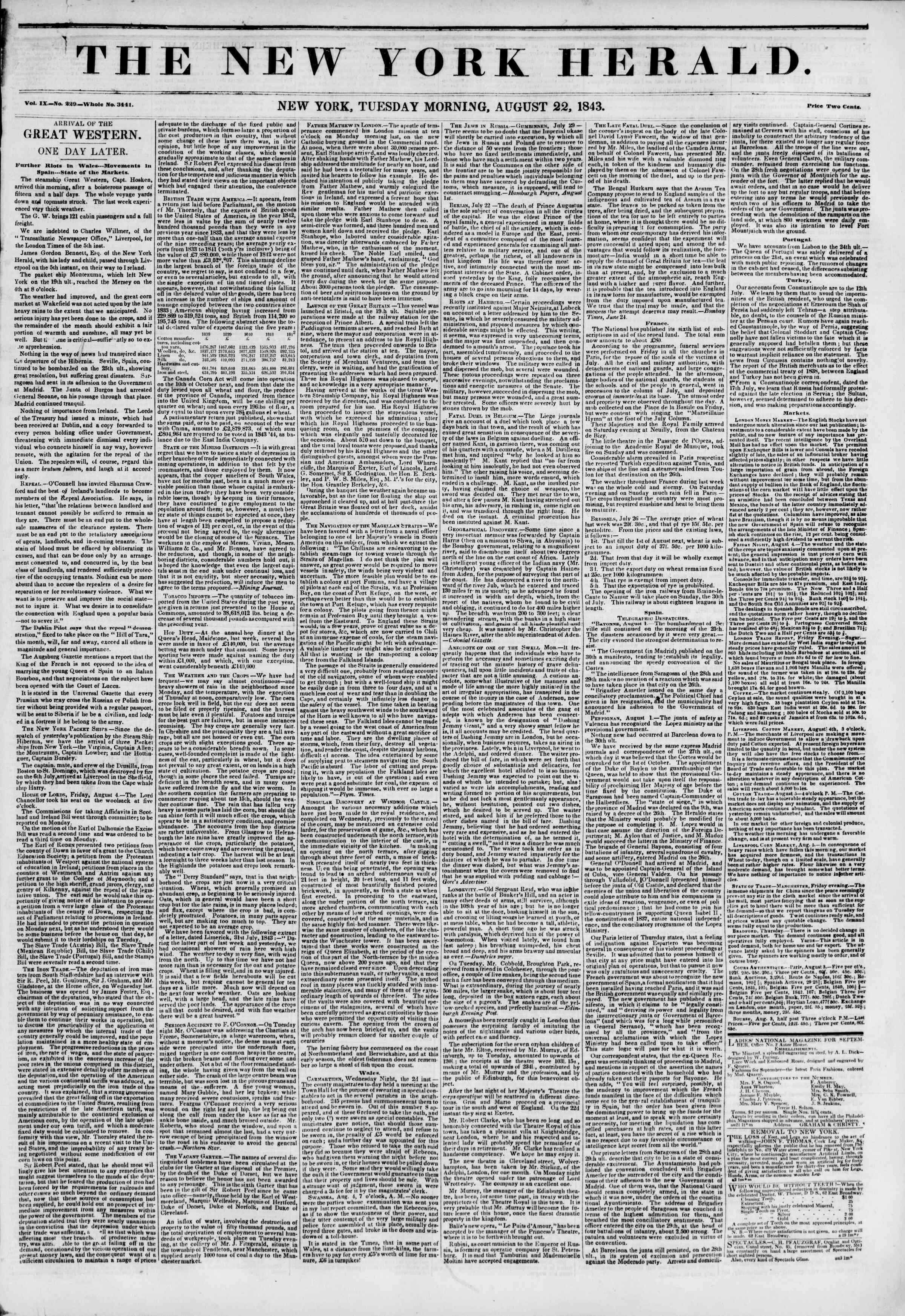 22 Ağustos 1843 tarihli The New York Herald Gazetesi Sayfa 1