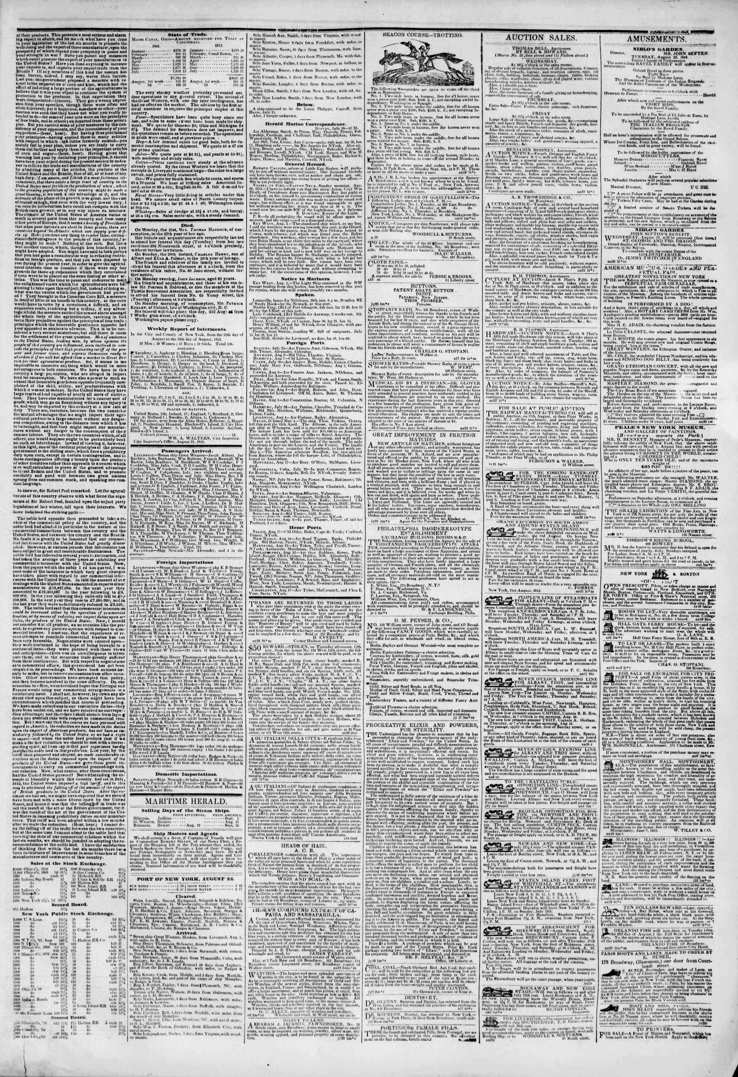 August 22, 1843 Tarihli The New York Herald Gazetesi Sayfa 3