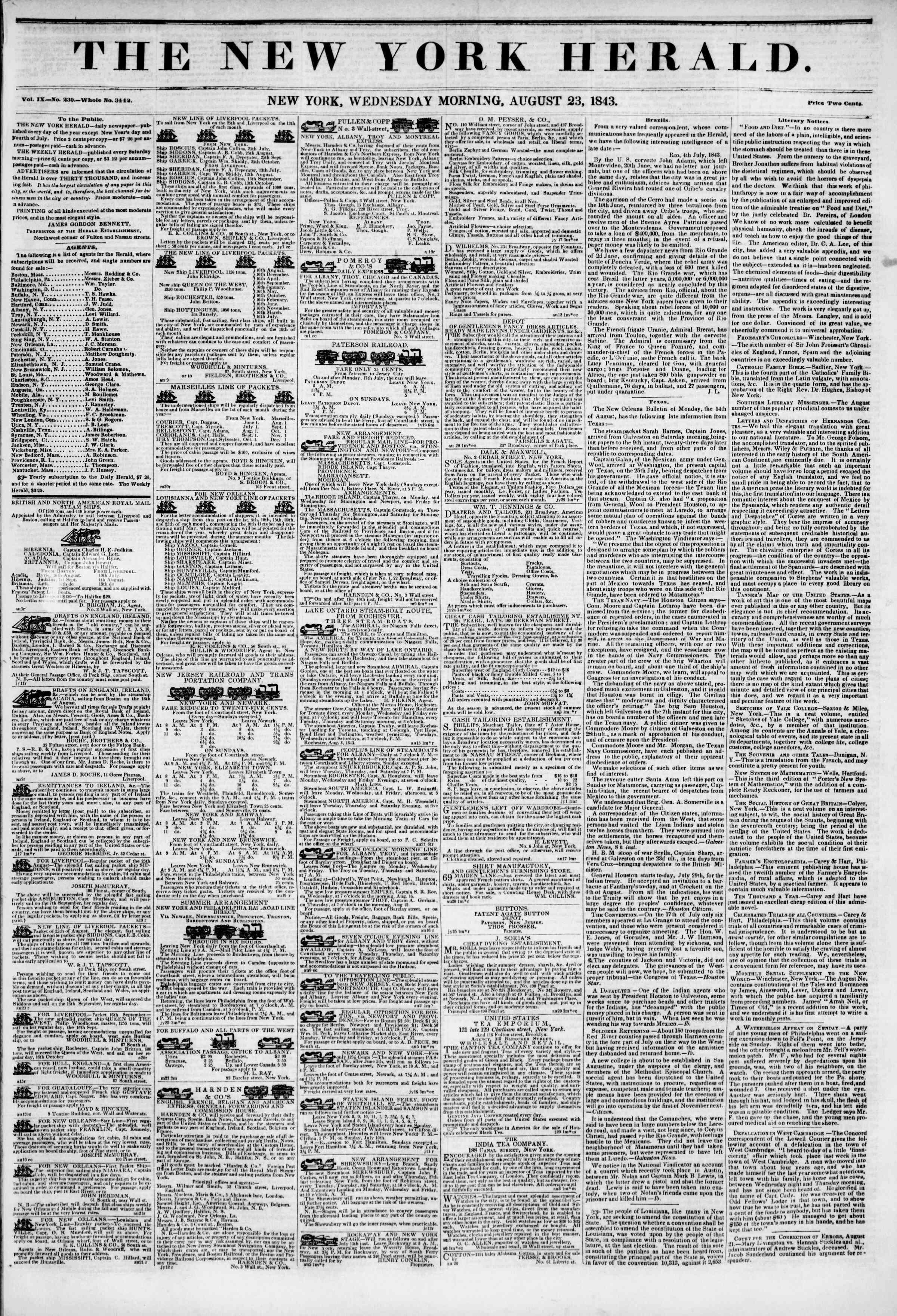 August 23, 1843 Tarihli The New York Herald Gazetesi Sayfa 1