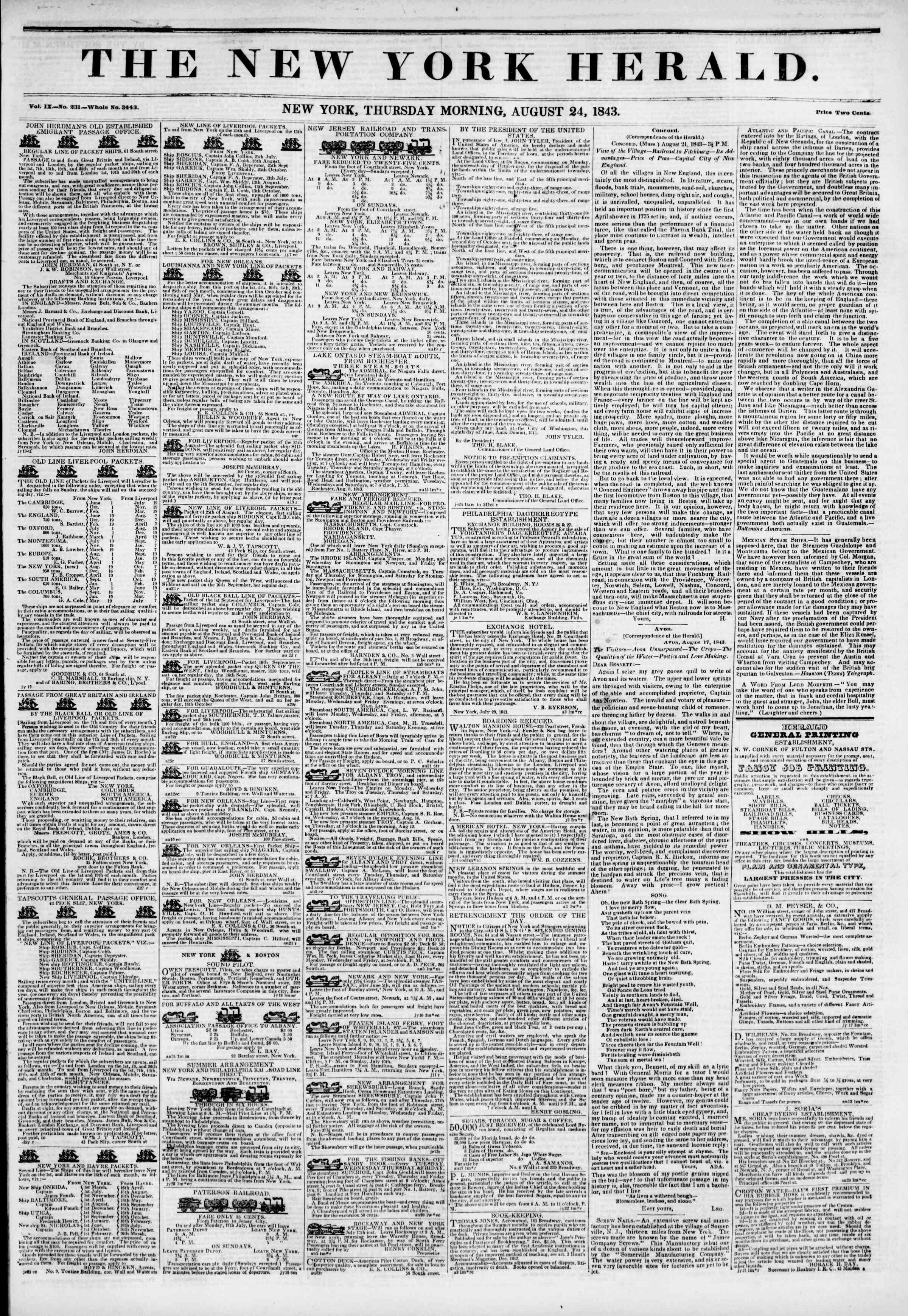 August 24, 1843 Tarihli The New York Herald Gazetesi Sayfa 1