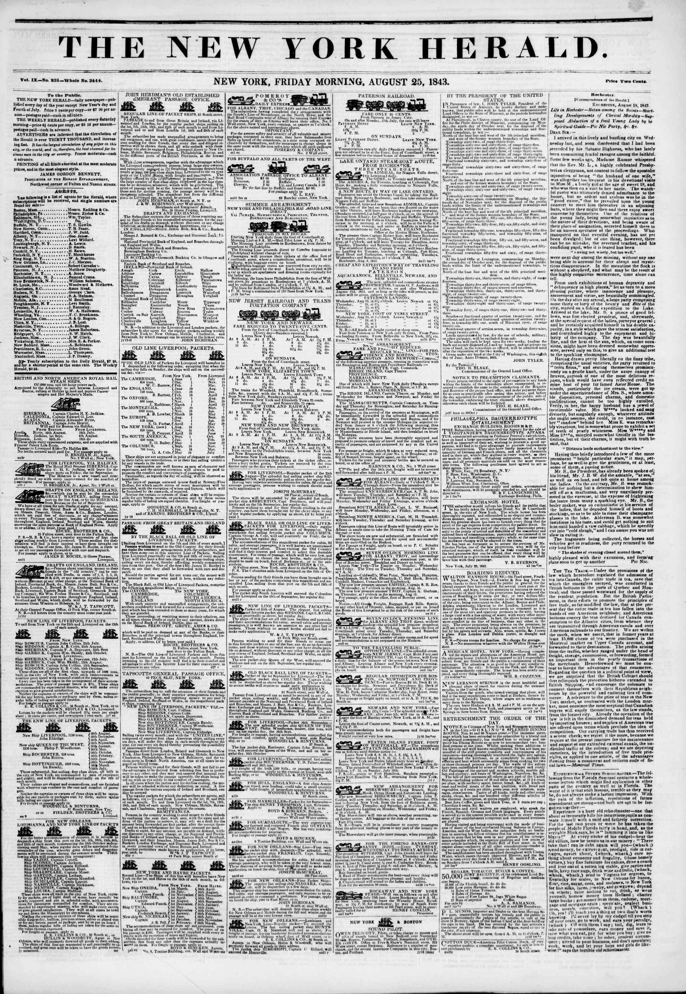 August 25, 1843 Tarihli The New York Herald Gazetesi Sayfa 1