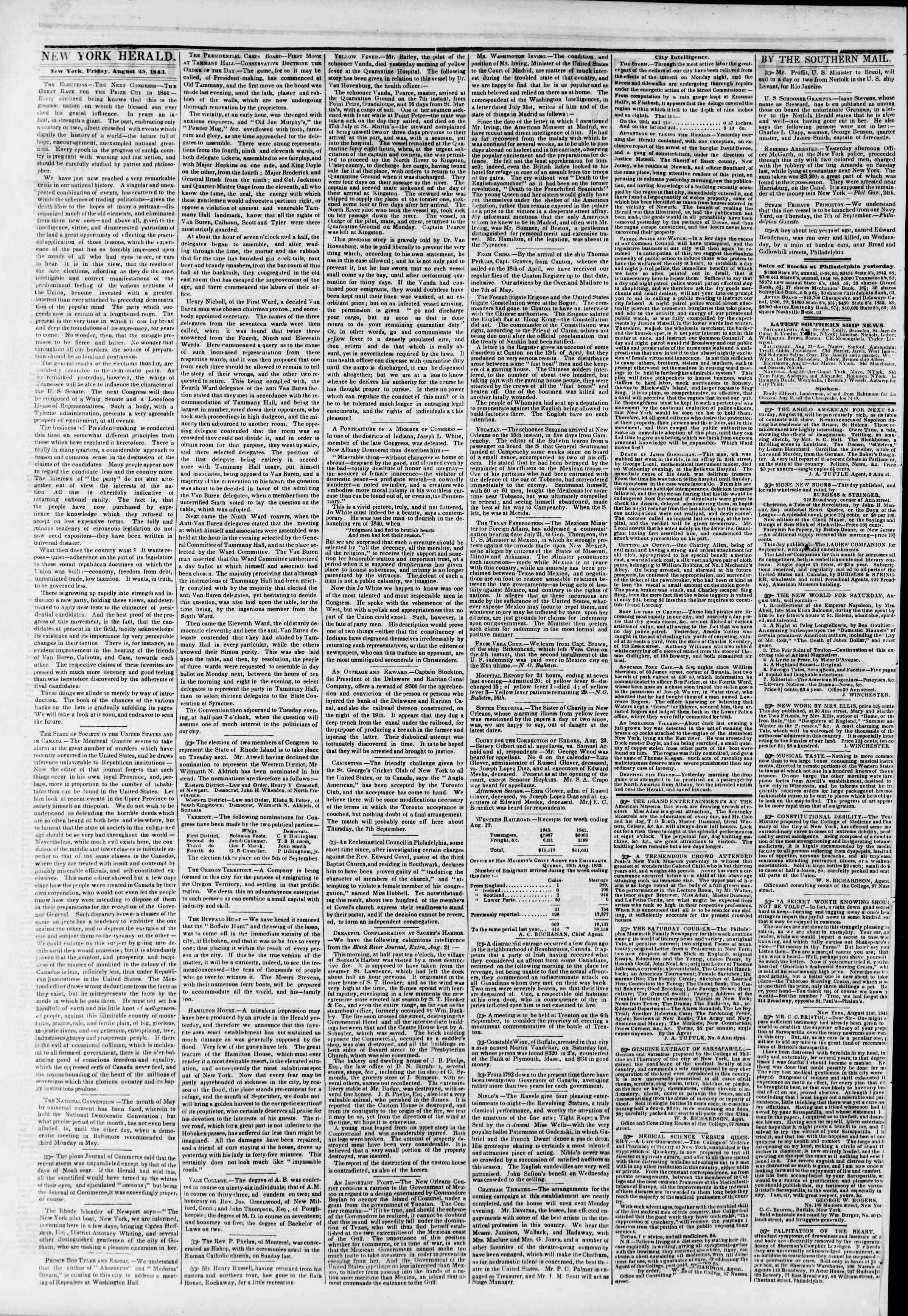 Newspaper of The New York Herald dated August 25, 1843 Page 2