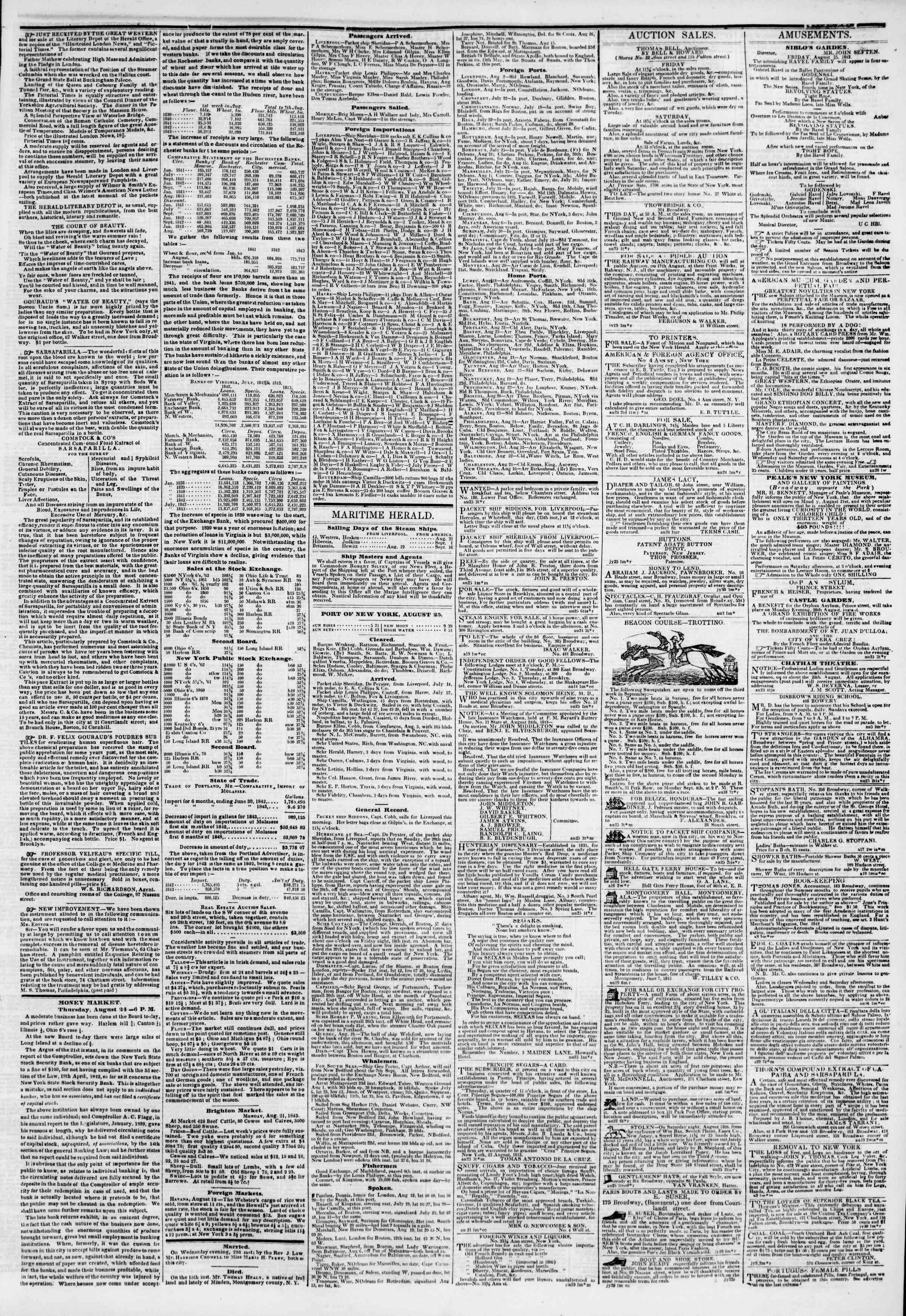 August 25, 1843 Tarihli The New York Herald Gazetesi Sayfa 3