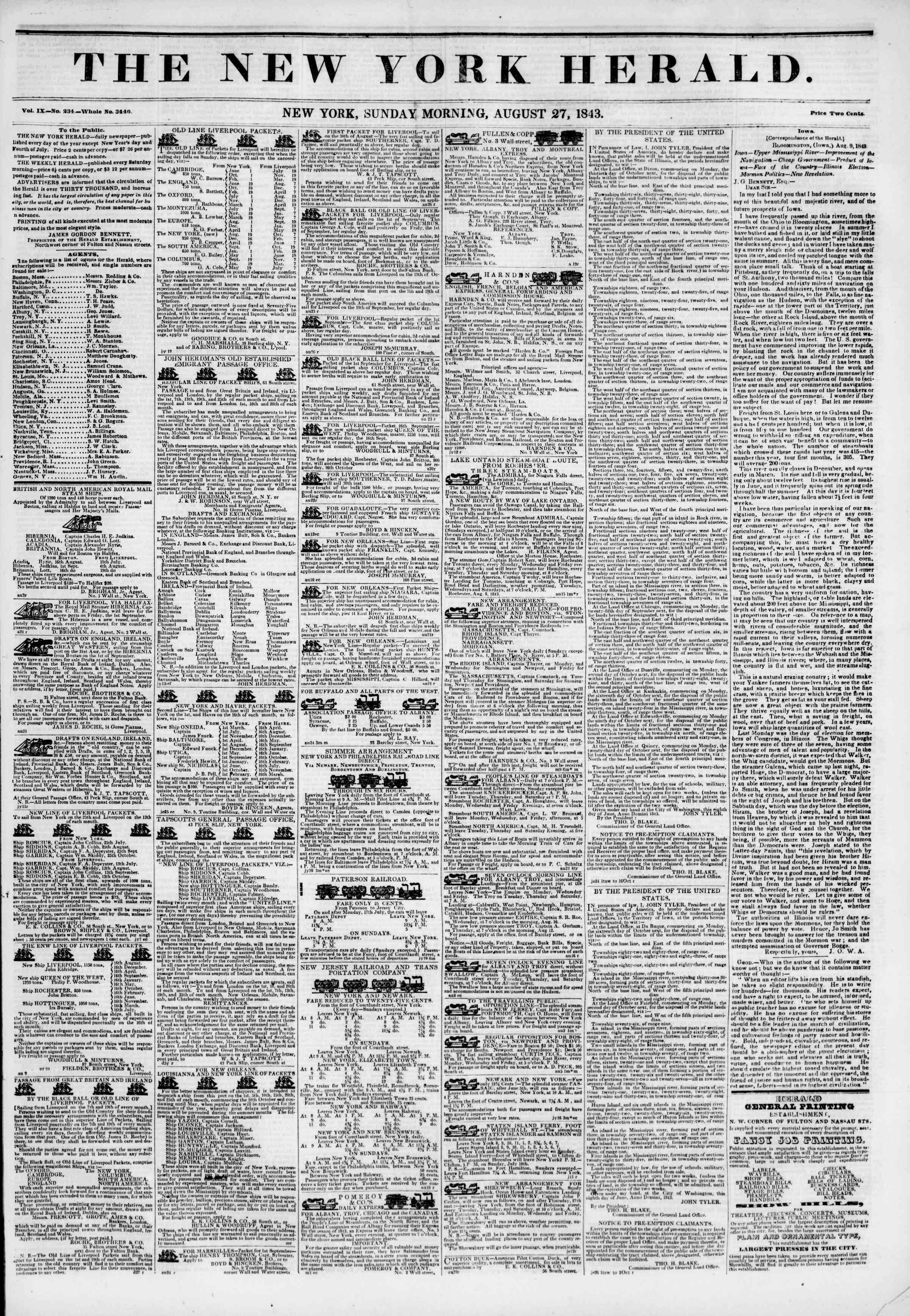 August 27, 1843 Tarihli The New York Herald Gazetesi Sayfa 1