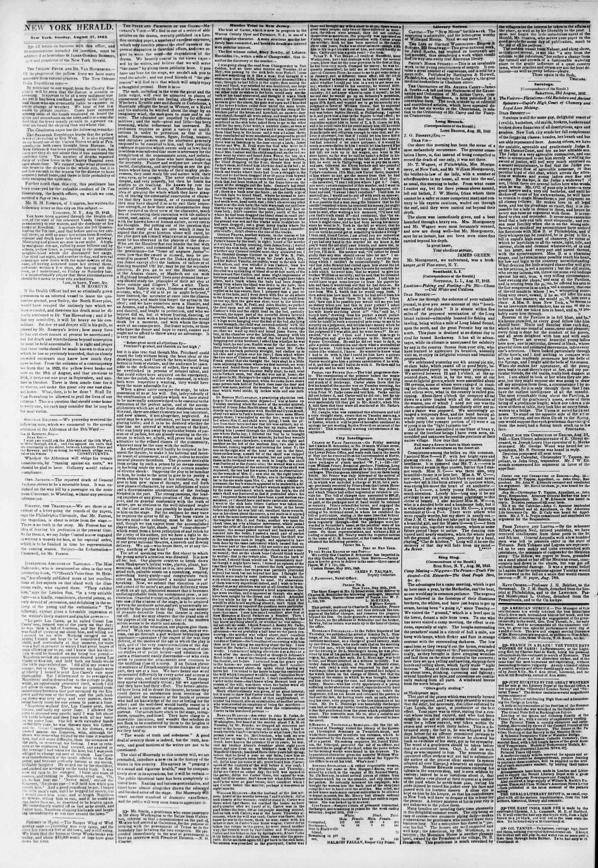 August 27, 1843 Tarihli The New York Herald Gazetesi Sayfa 2