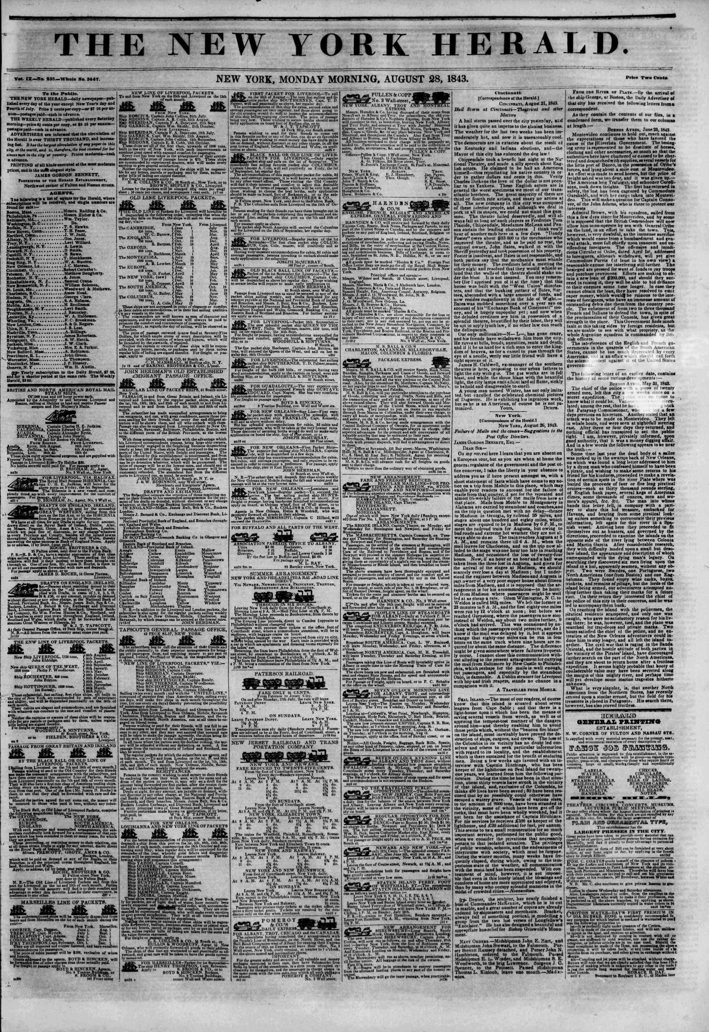 August 28, 1843 Tarihli The New York Herald Gazetesi Sayfa 1