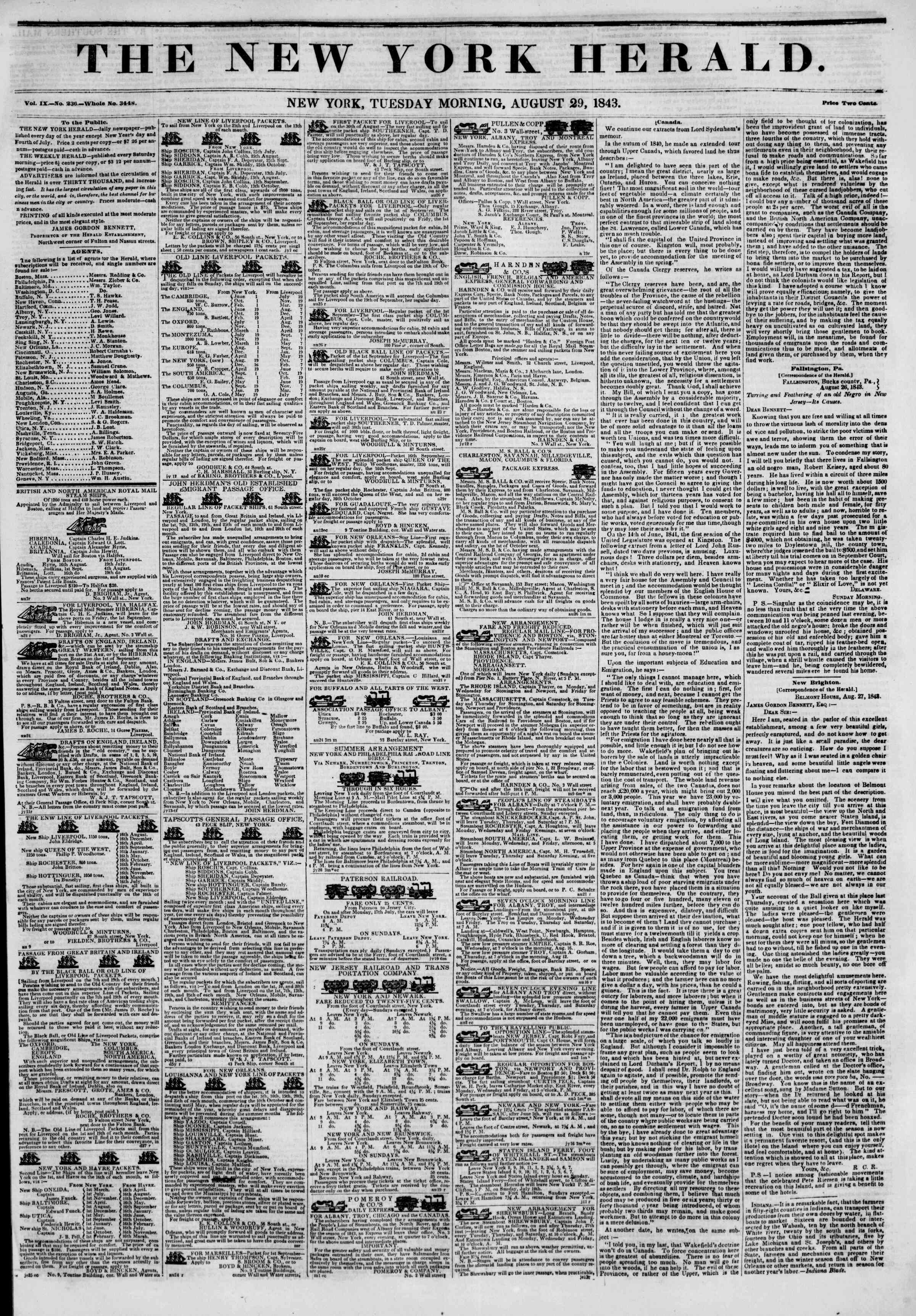 Newspaper of The New York Herald dated August 29, 1843 Page 1