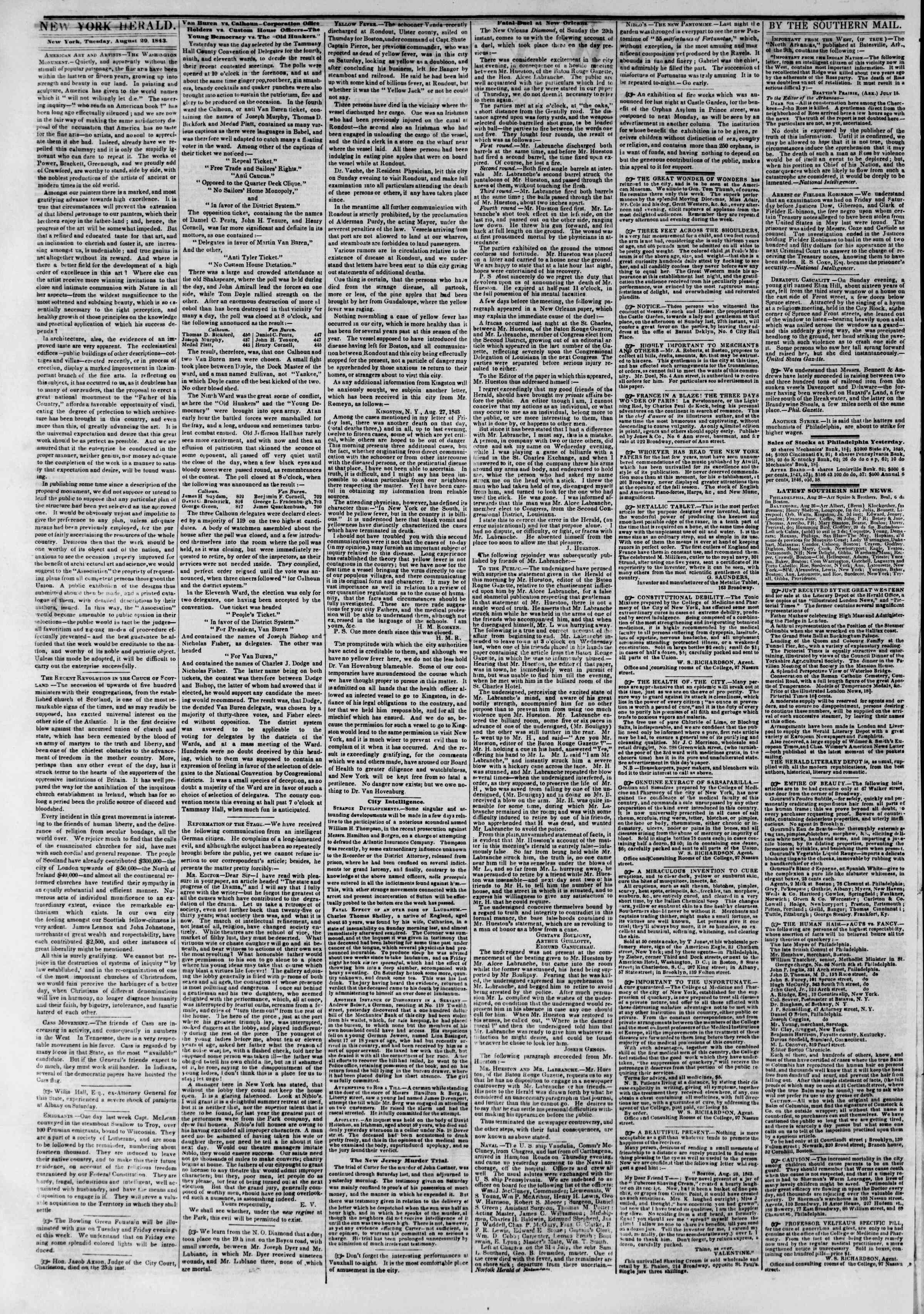 Newspaper of The New York Herald dated August 29, 1843 Page 2