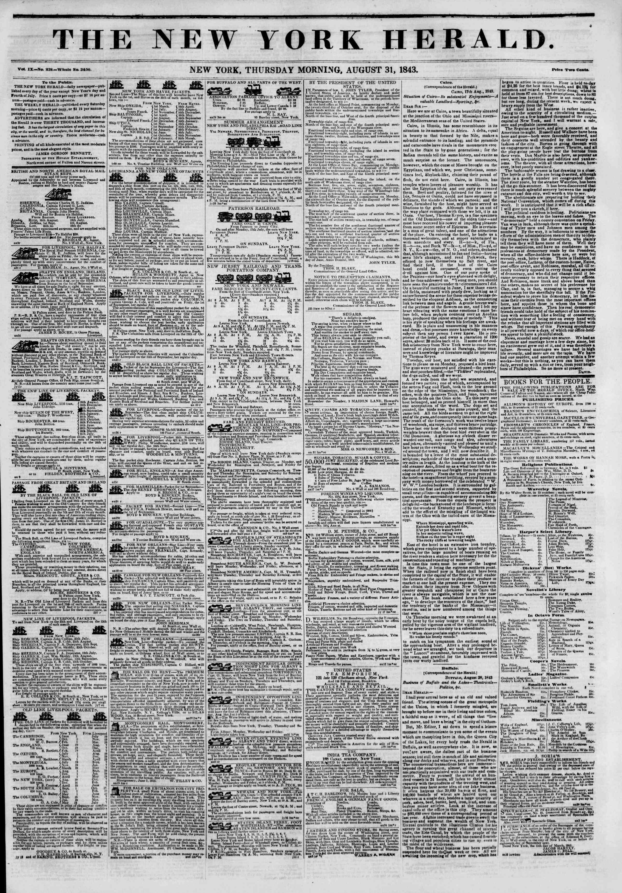 Newspaper of The New York Herald dated August 31, 1843 Page 1