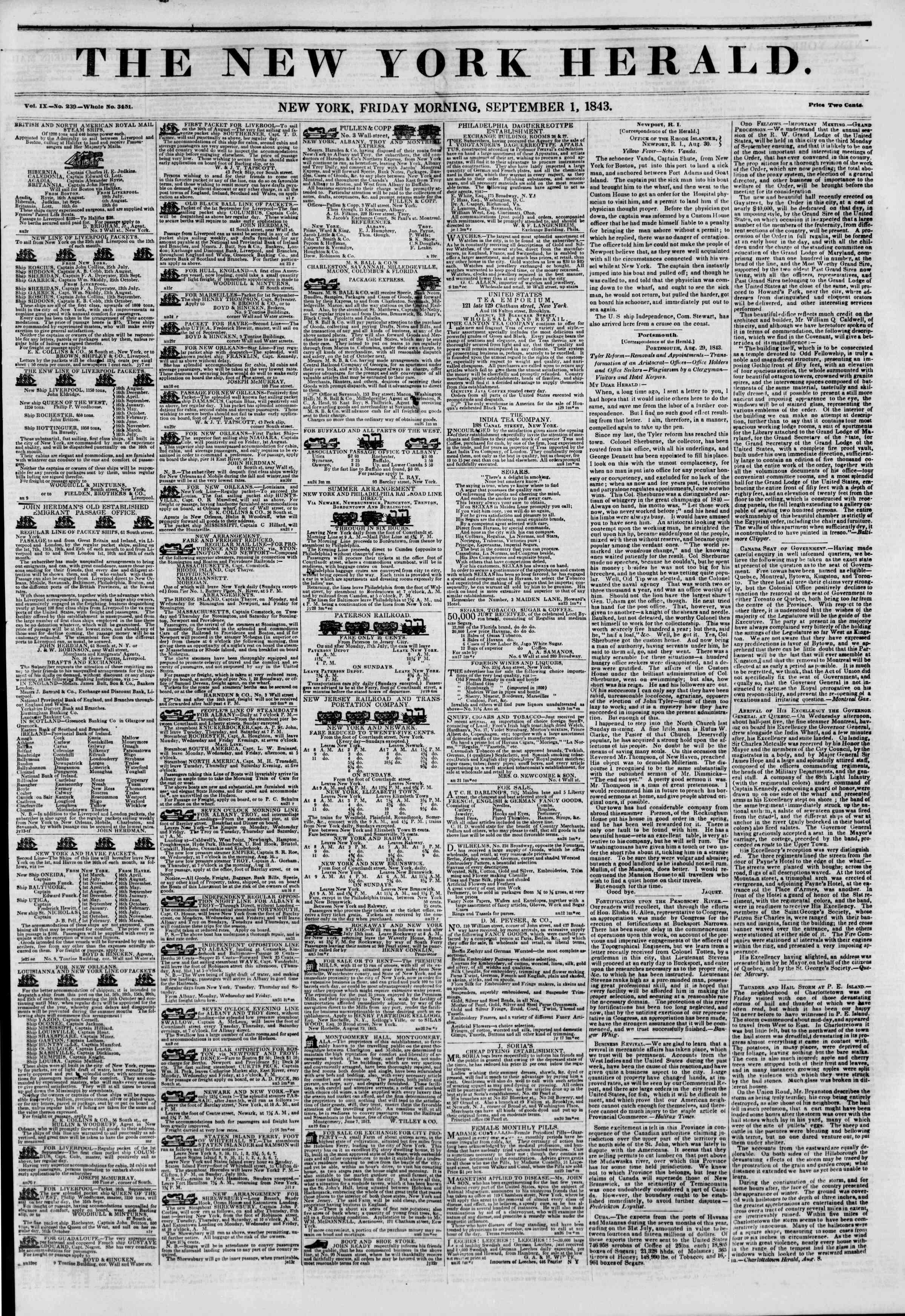 September 1, 1843 Tarihli The New York Herald Gazetesi Sayfa 1
