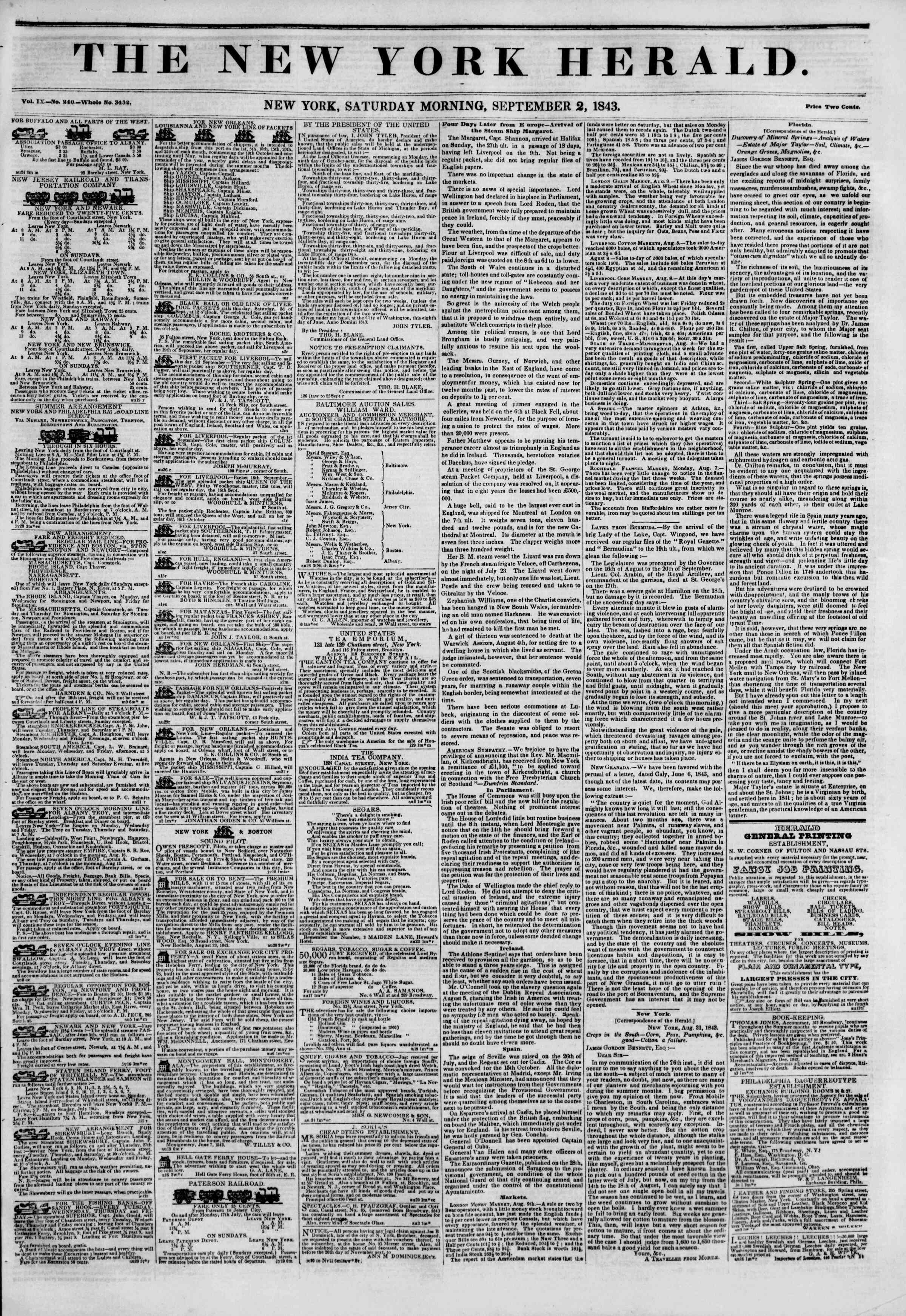 Newspaper of The New York Herald dated September 2, 1843 Page 1